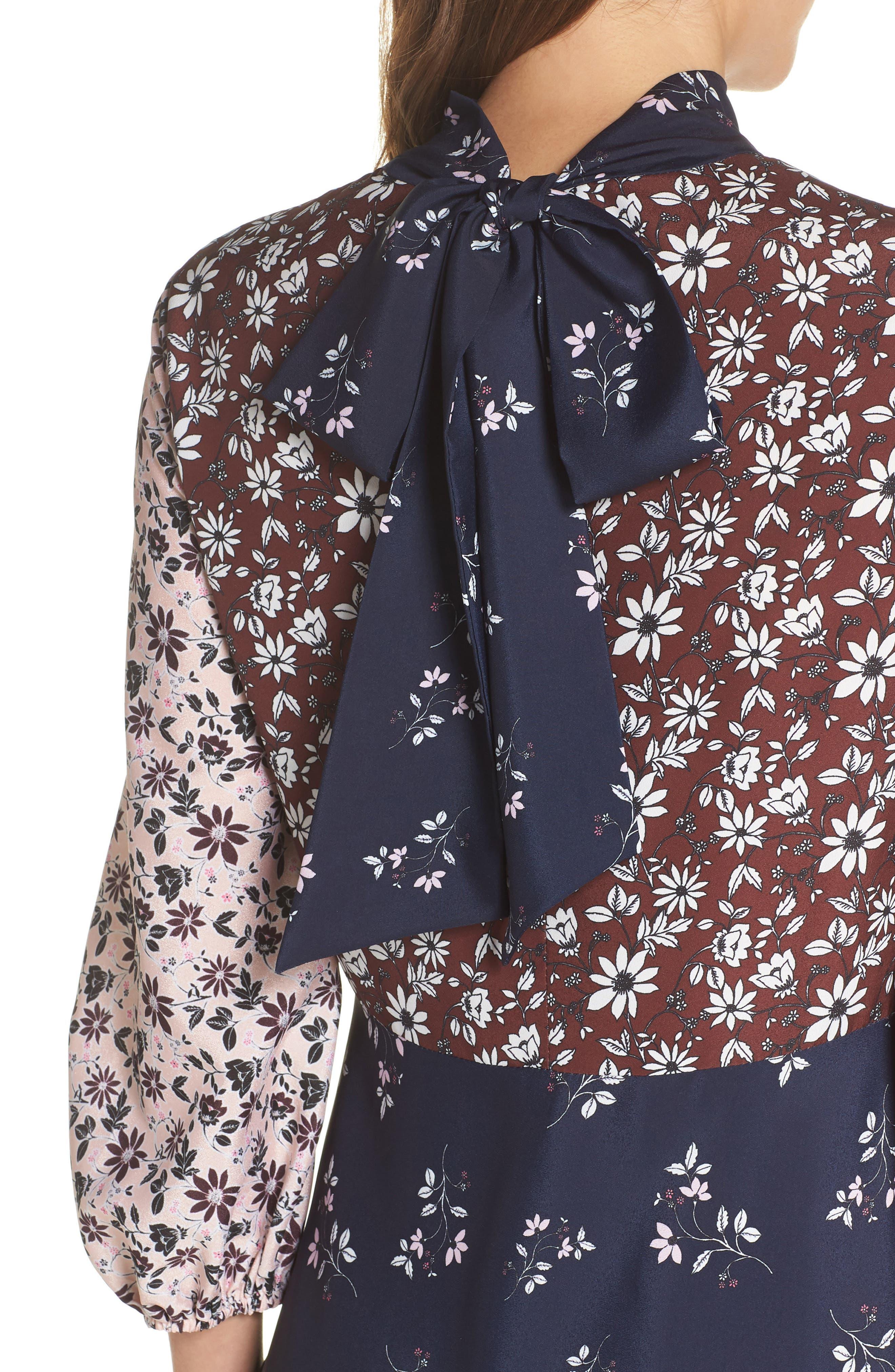 Colorblock Floral Woven Dress,                             Alternate thumbnail 4, color,                             400