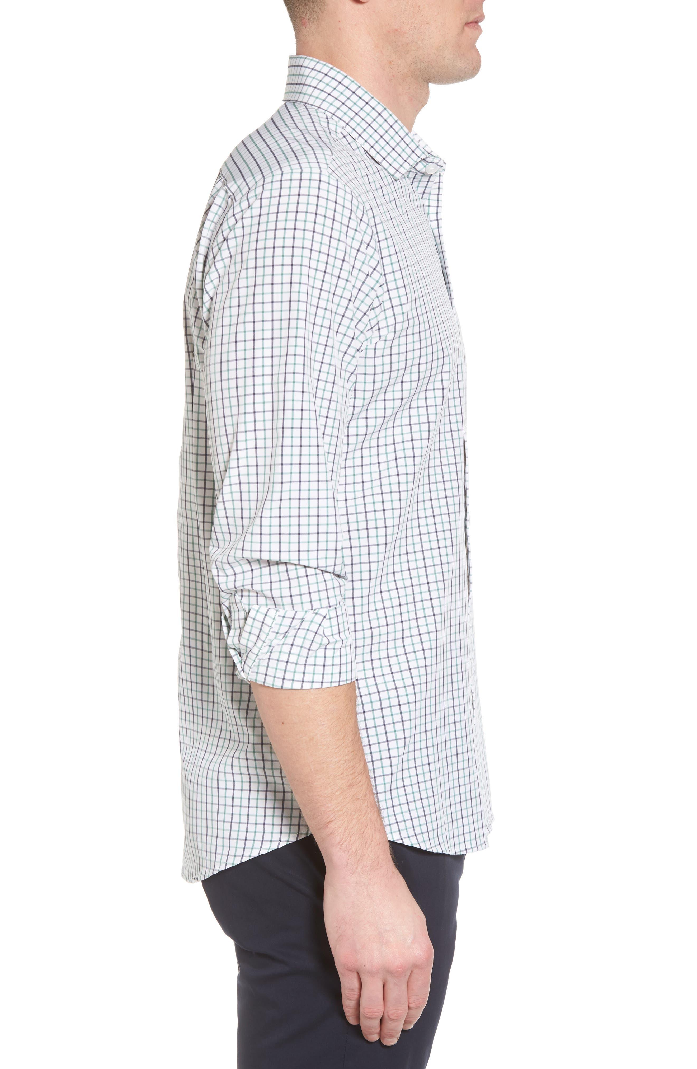 Ellis Slim Fit Tattersall Sport Shirt,                             Alternate thumbnail 3, color,                             360