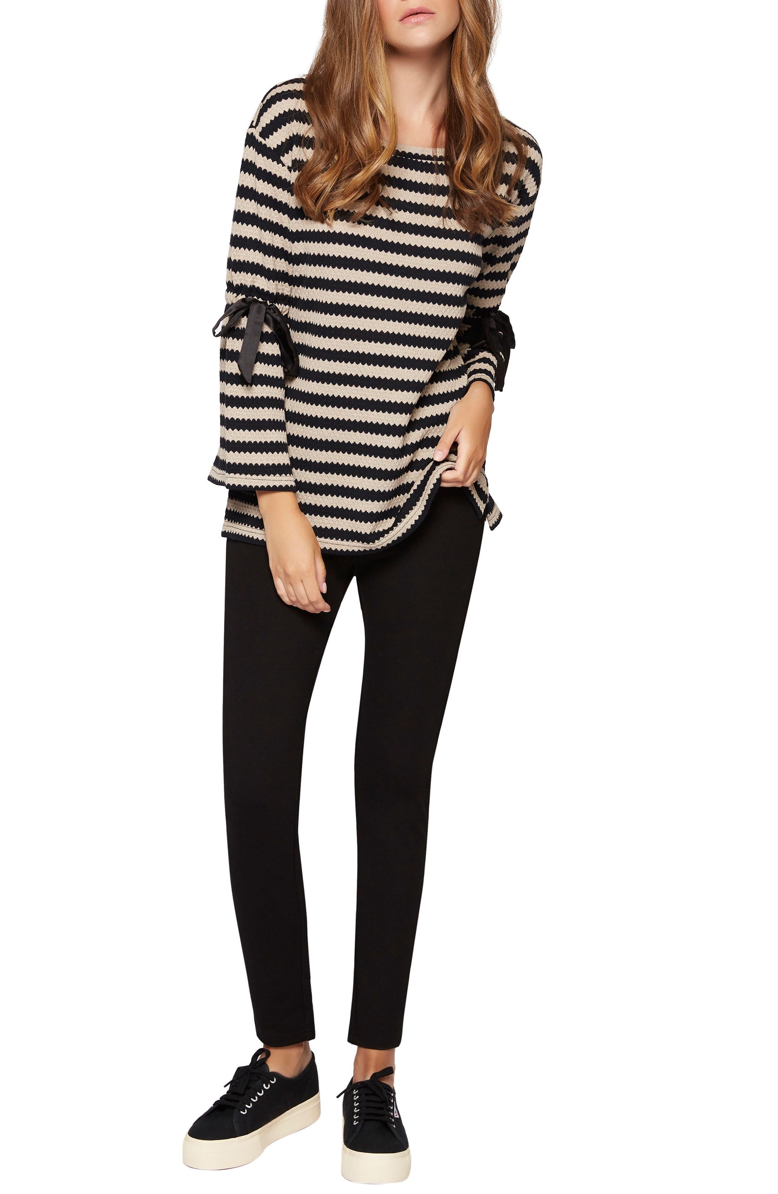 Tierney Stripe Tie Sleeve Sweatshirt,                         Main,                         color, 002