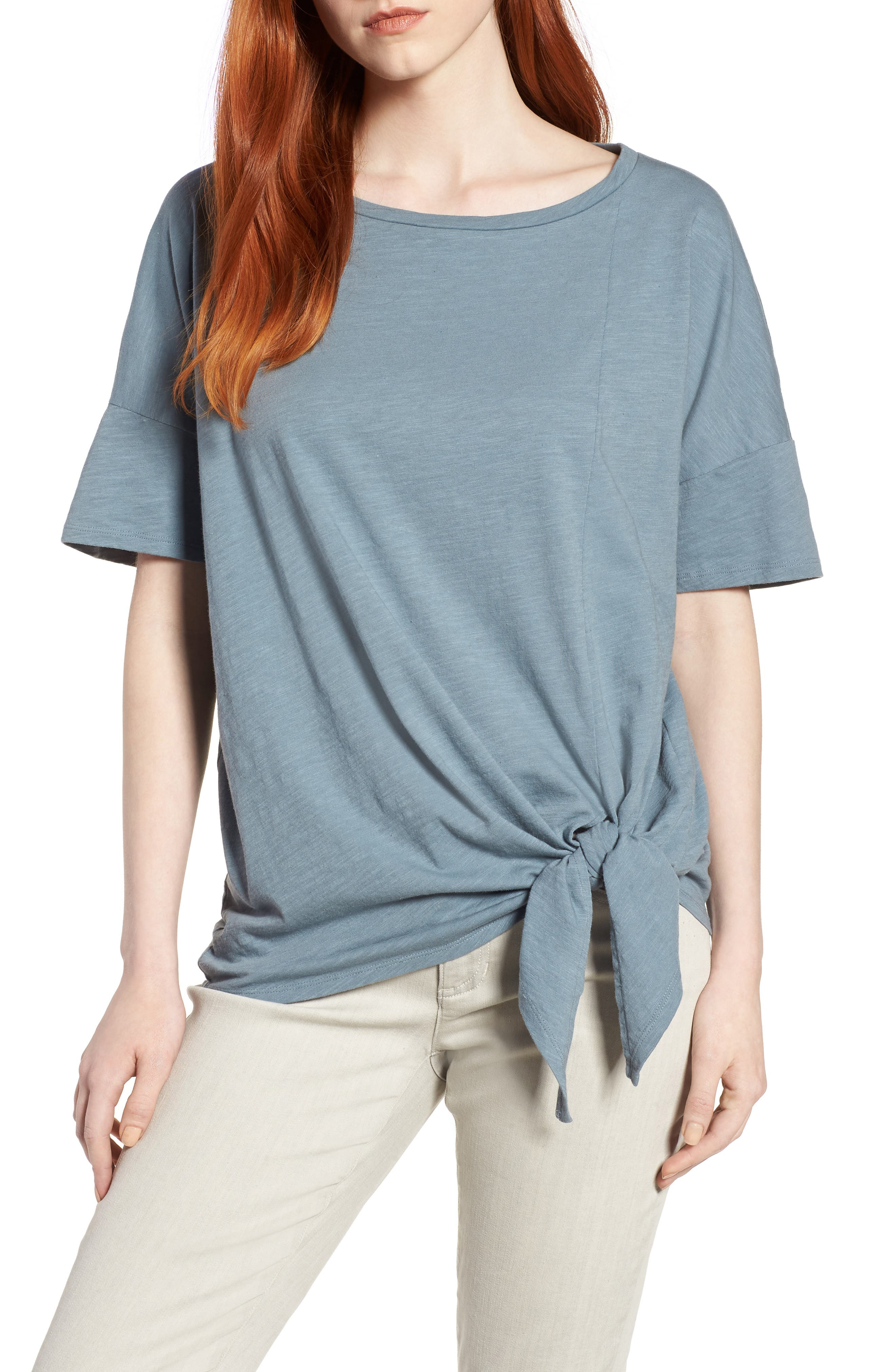 Tie Hem Organic Cotton Tee,                             Main thumbnail 6, color,
