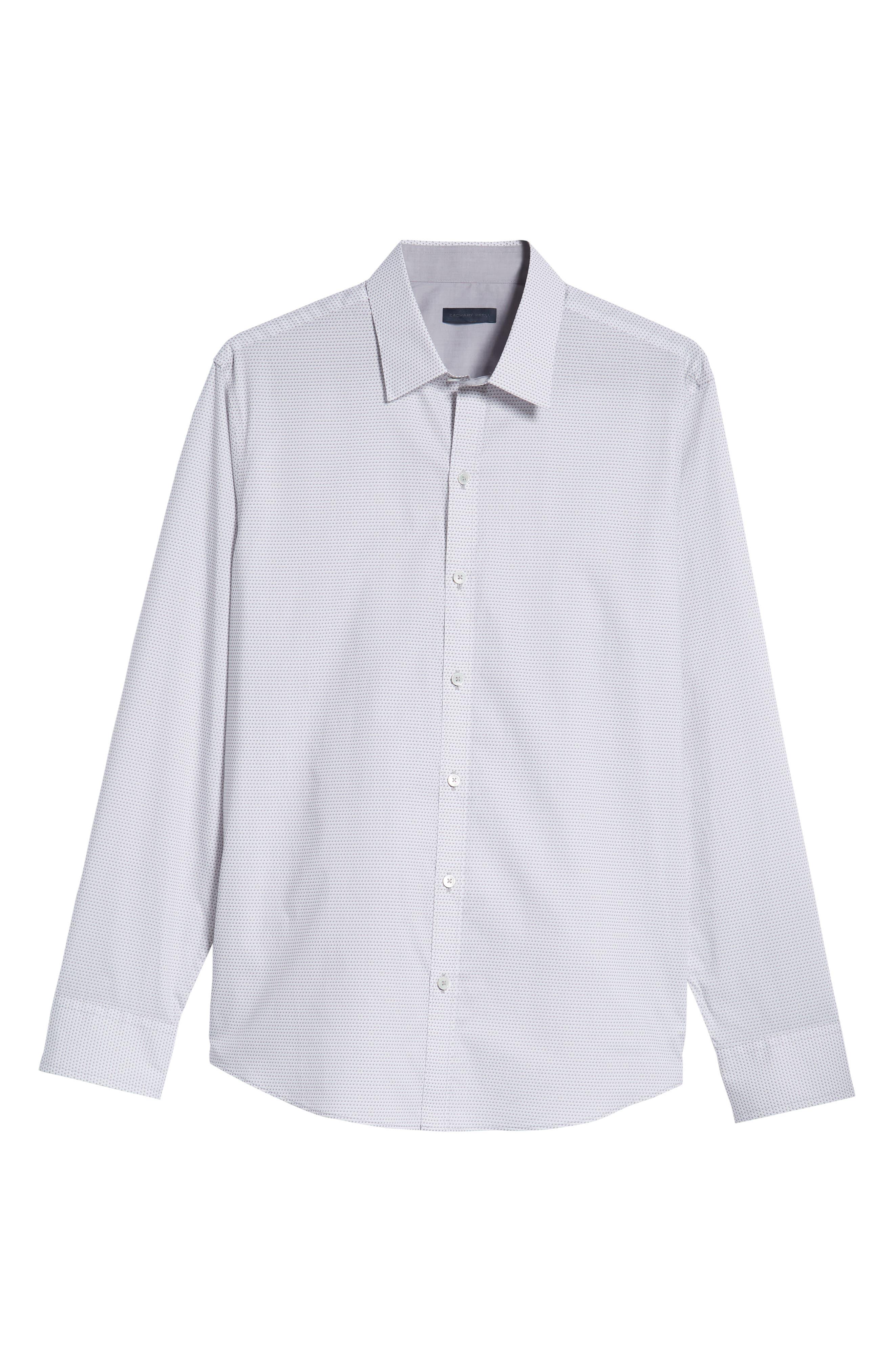 Toledo Regular Fit Microdot Sport Shirt,                             Alternate thumbnail 5, color,                             WHITE