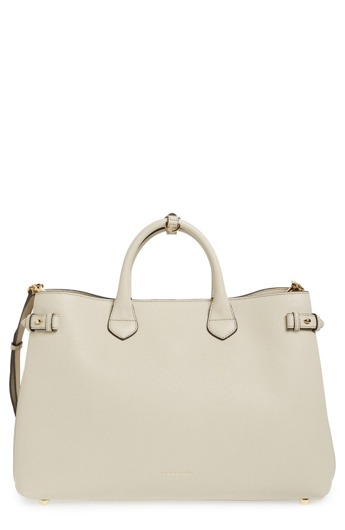 'Large Banner - Derby' House Check Calfskin Leather Tote, Main, color, 101