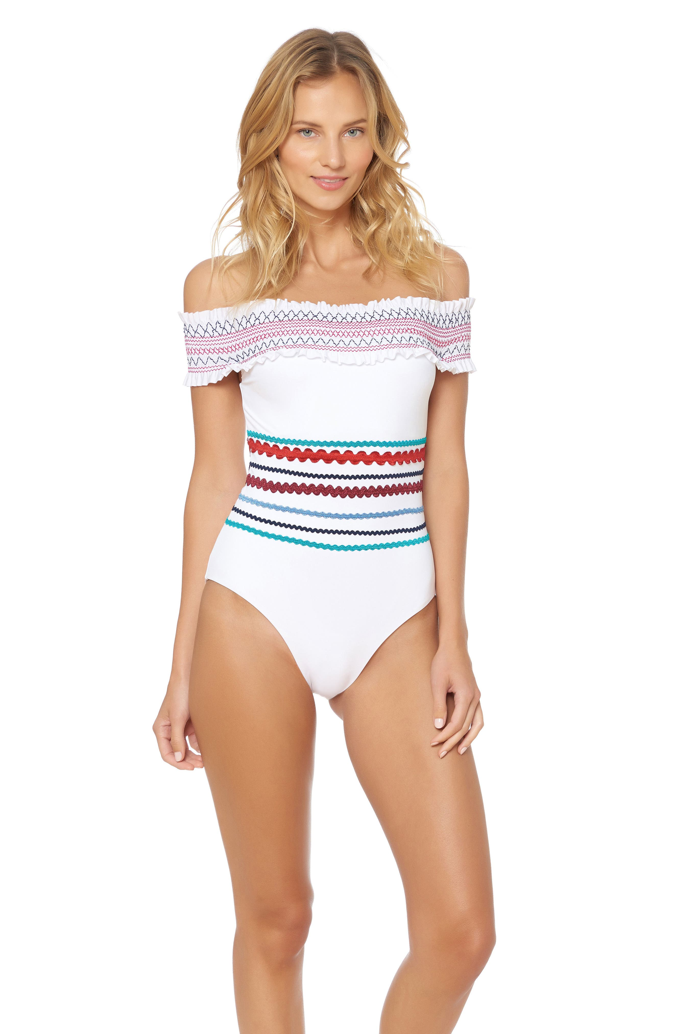 Smocked Off the Shoulder Swimsuit,                             Alternate thumbnail 5, color,