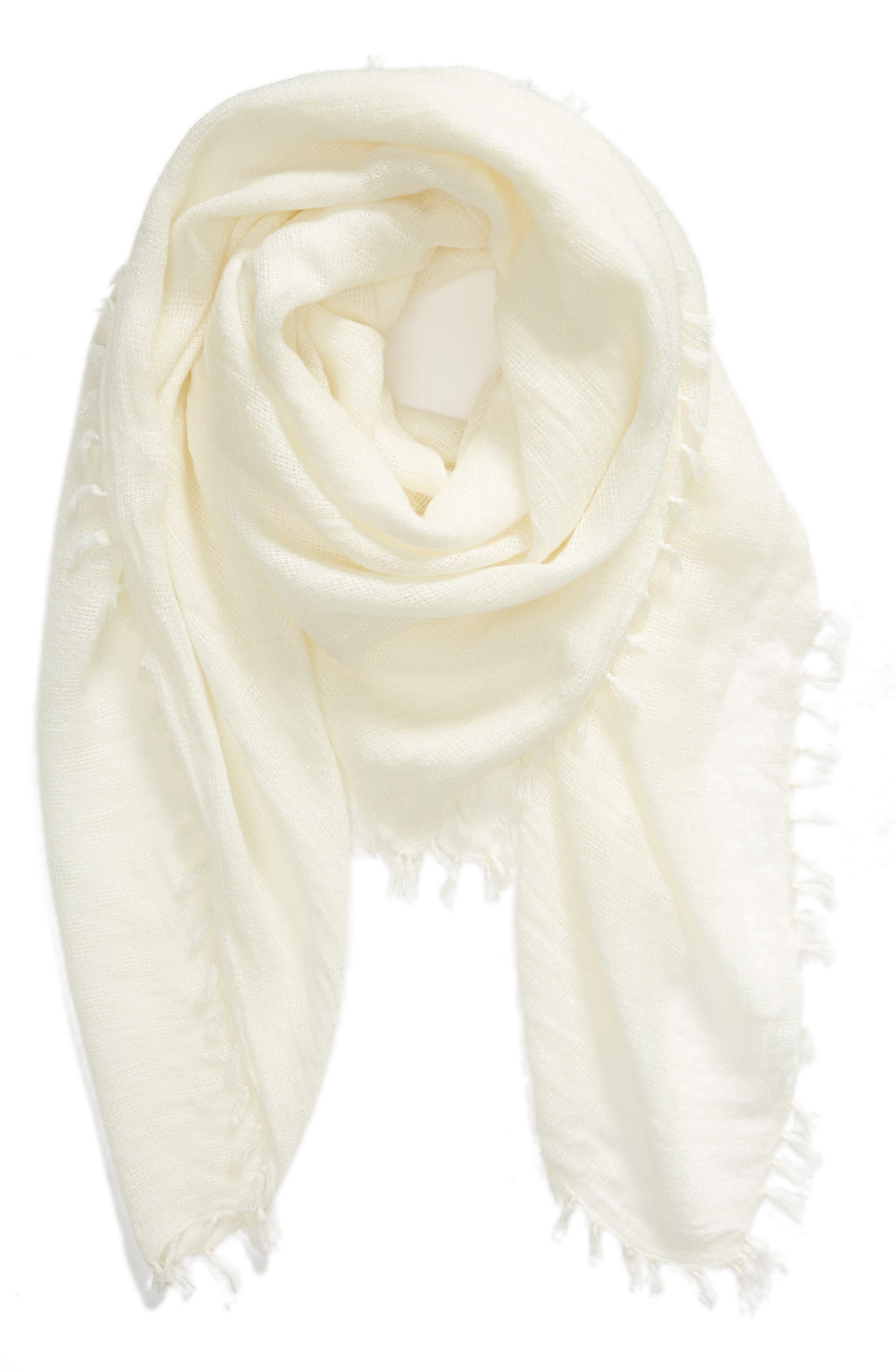 Solid Fringed Scarf,                             Alternate thumbnail 2, color,                             IVORY