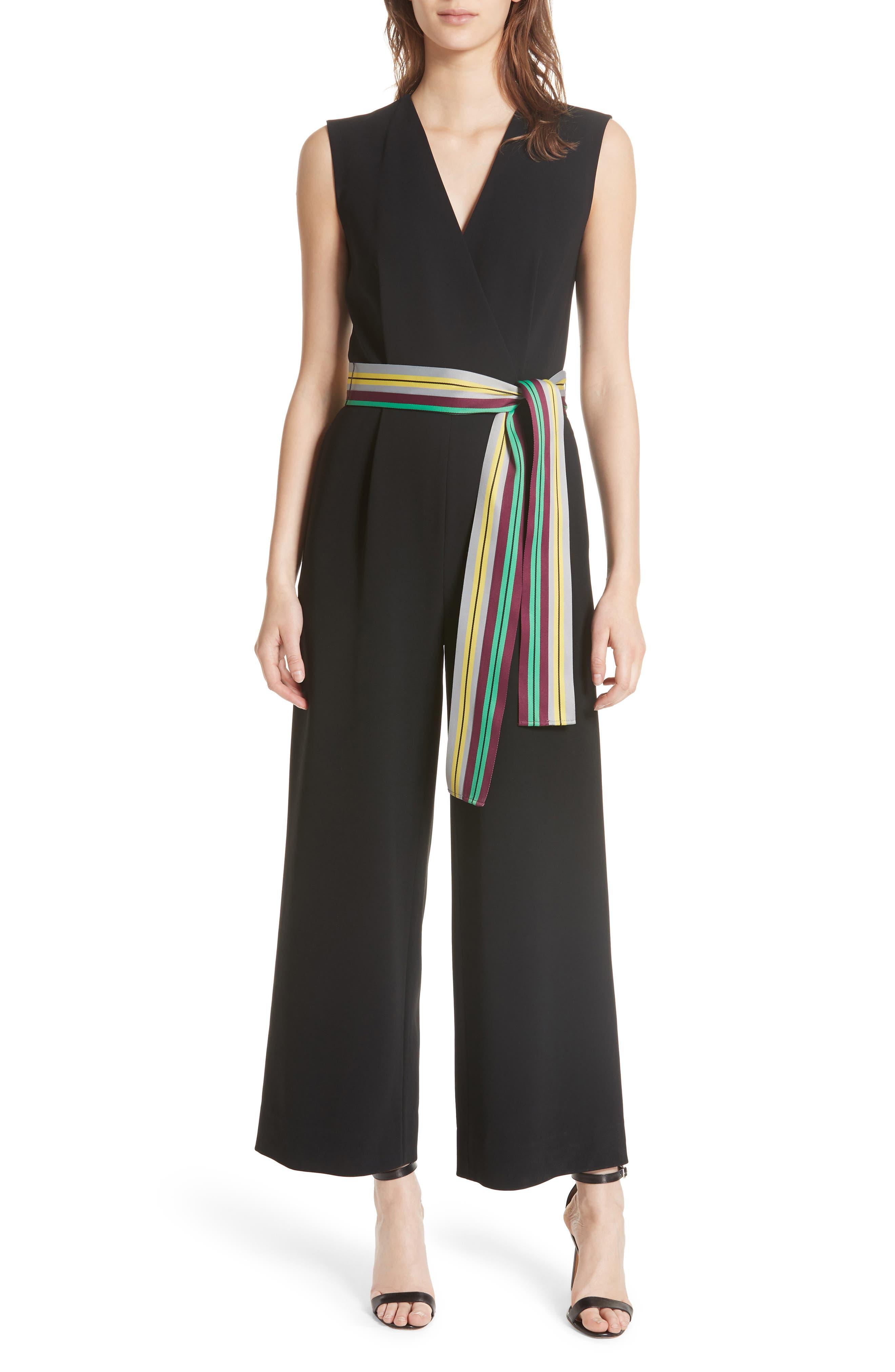 DVF Diane von Furstenberg Crossover Belted Jumpsuit, Main, color, 001