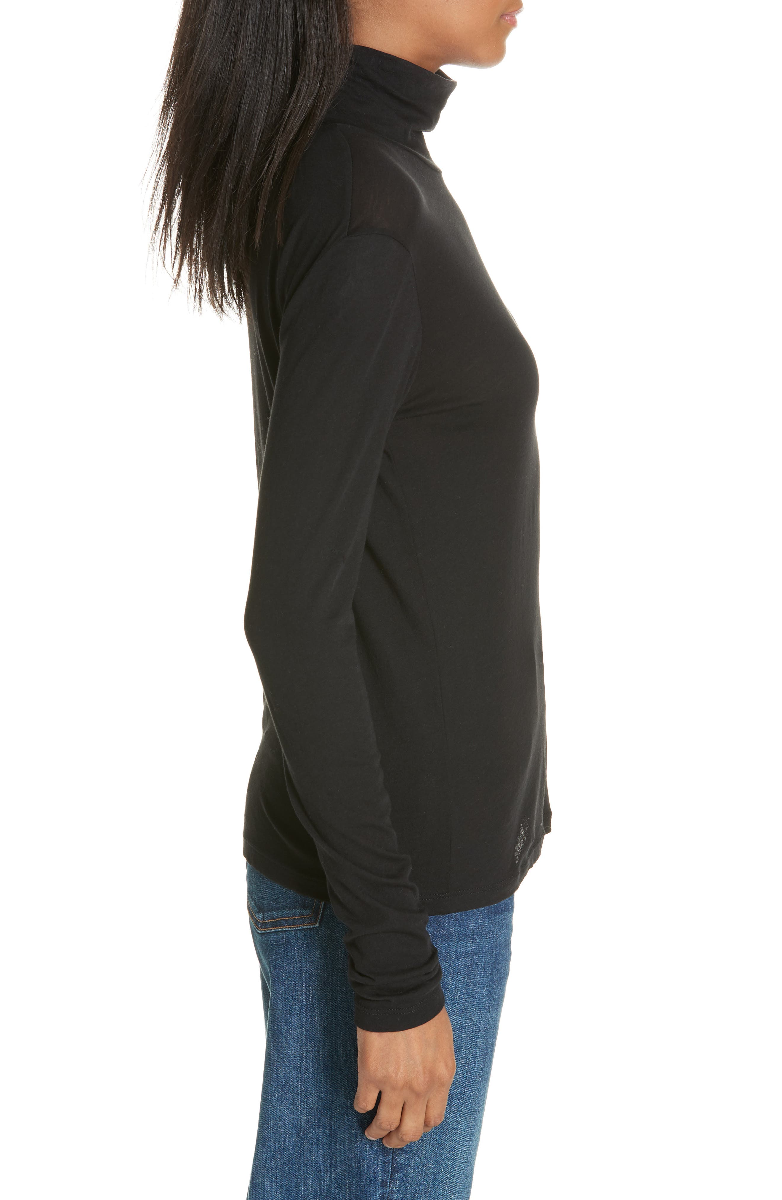 Pima Cotton Turtleneck,                             Alternate thumbnail 3, color,                             001