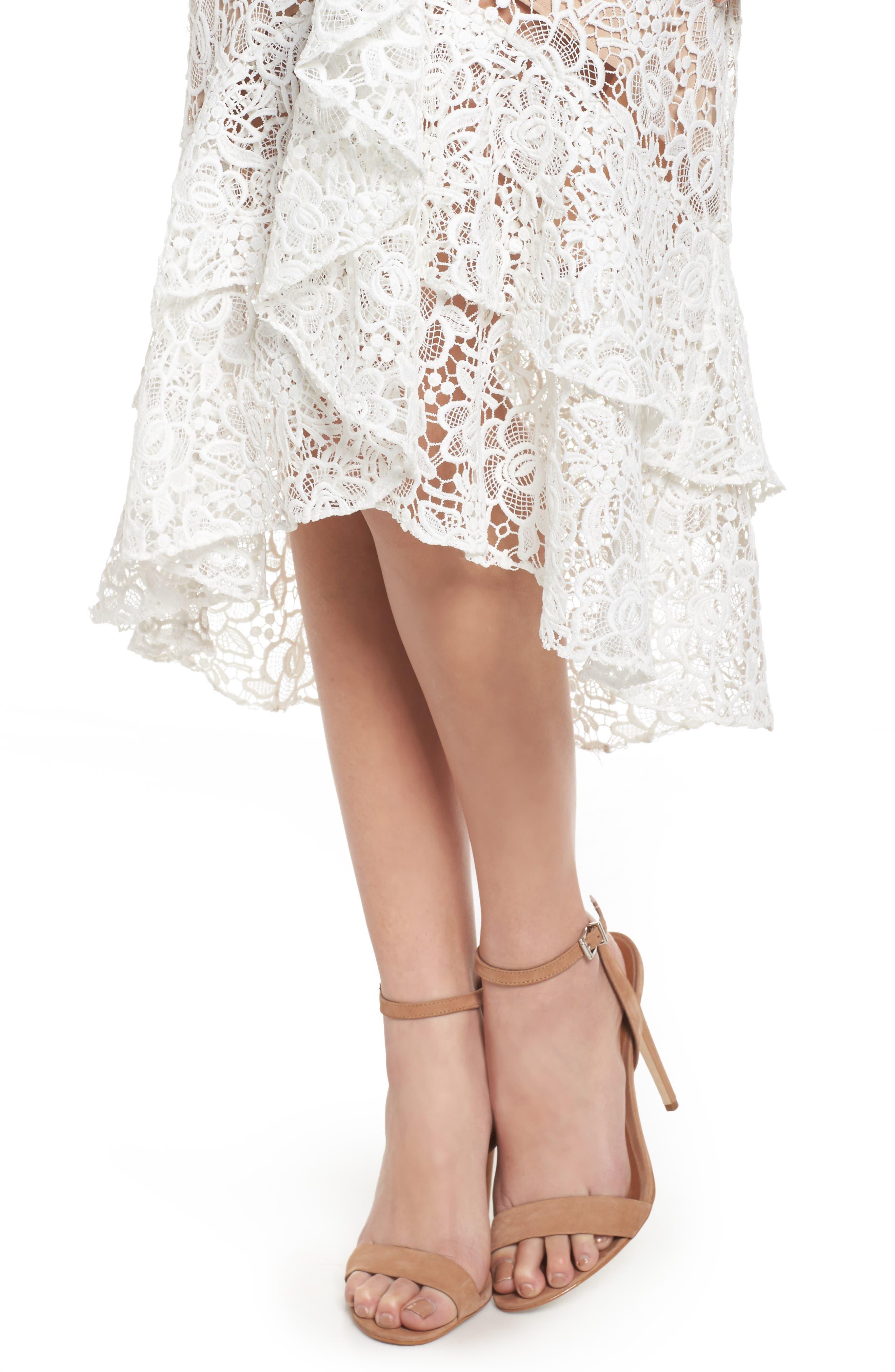 Ruffle Lace Midi Dress,                             Alternate thumbnail 4, color,                             100