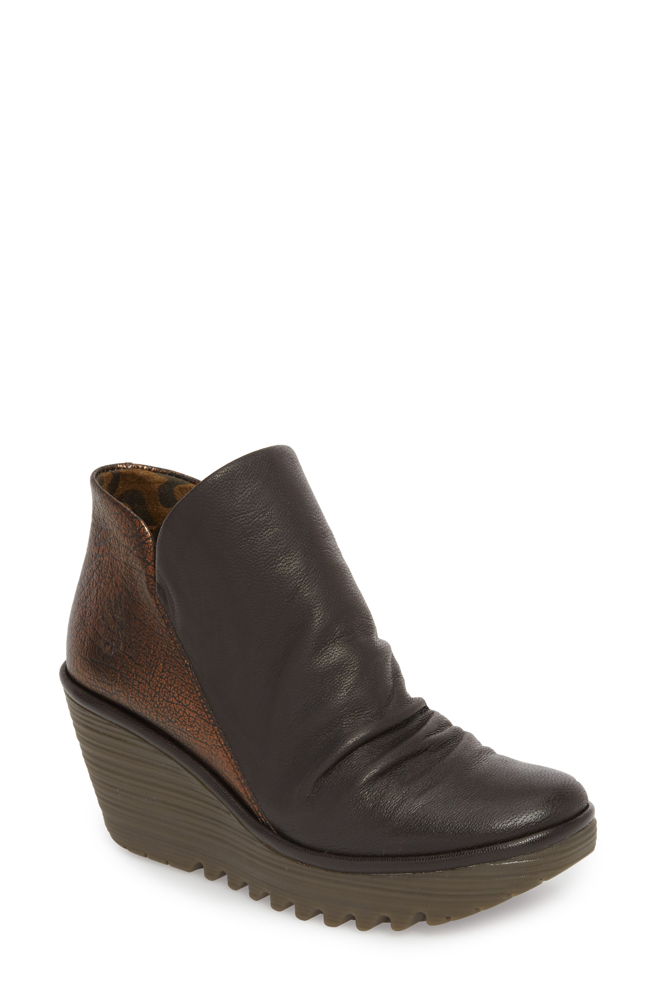 Fly London Yip Wedge Bootie-6- Brown