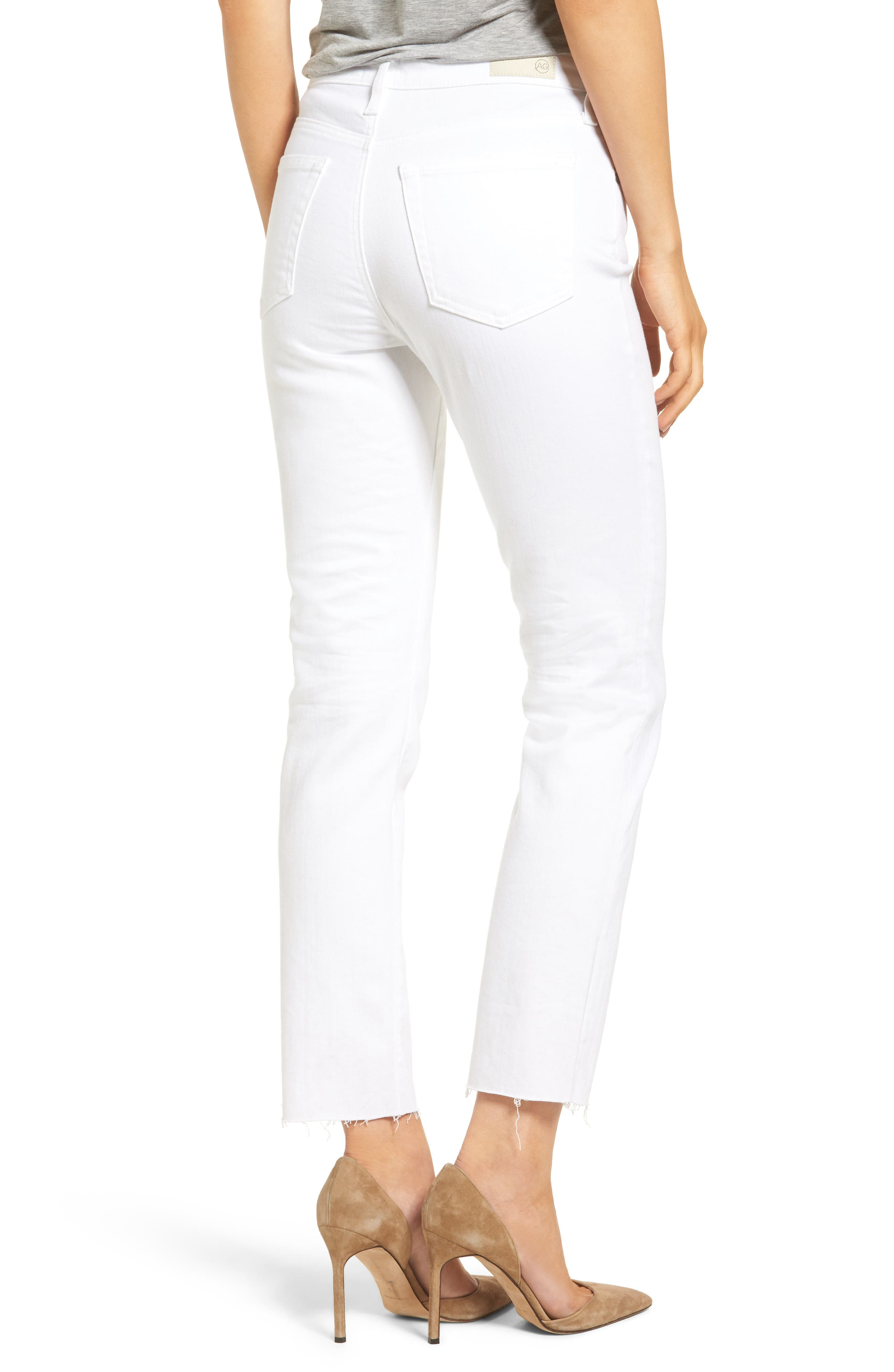 The Isabelle High Waist Crop Straight Leg Jeans,                             Alternate thumbnail 2, color,                             01 YEARS - WHITE