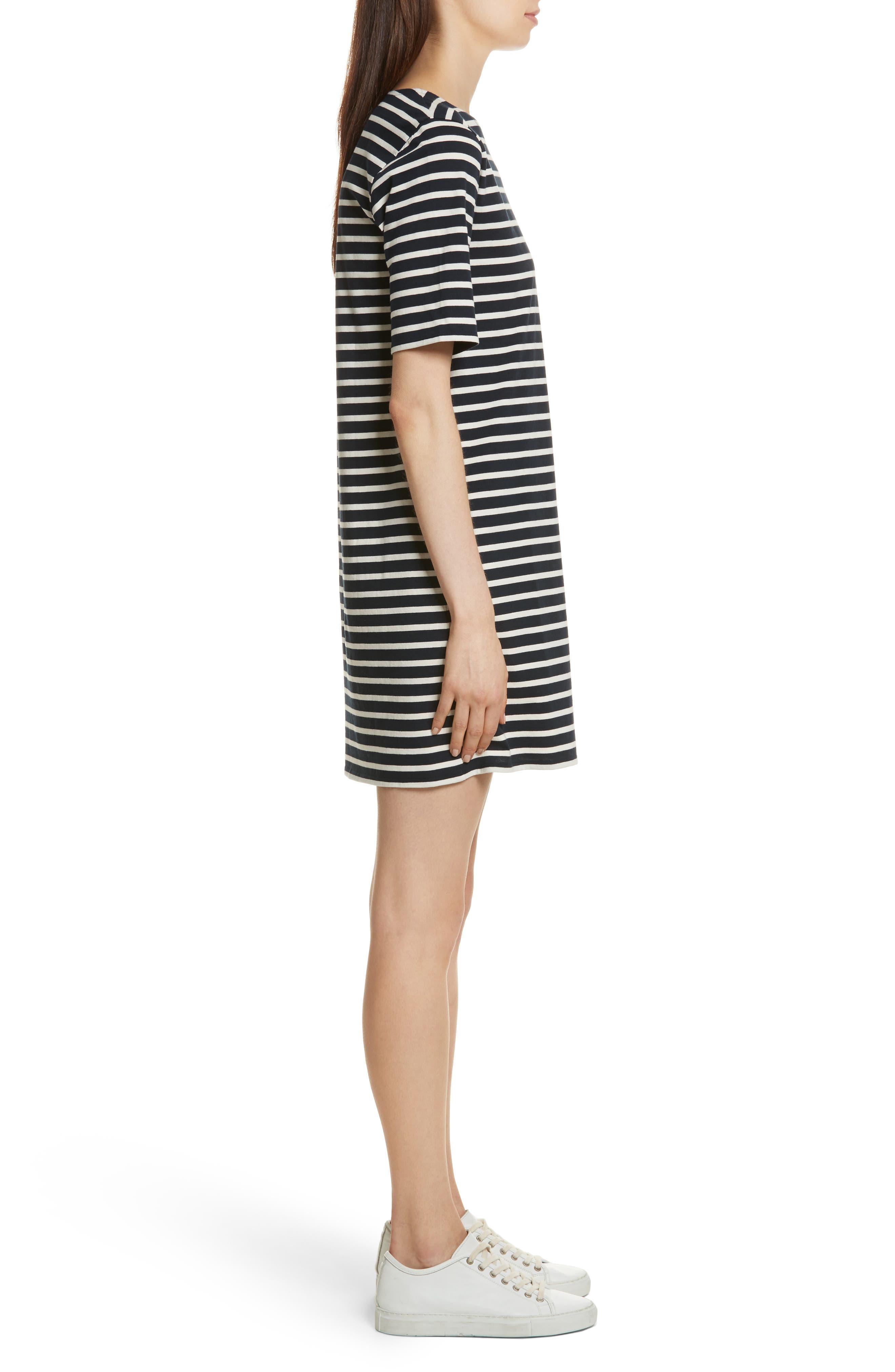 The Tee Stripe Dress,                             Alternate thumbnail 3, color,                             NAVY/ CREAM