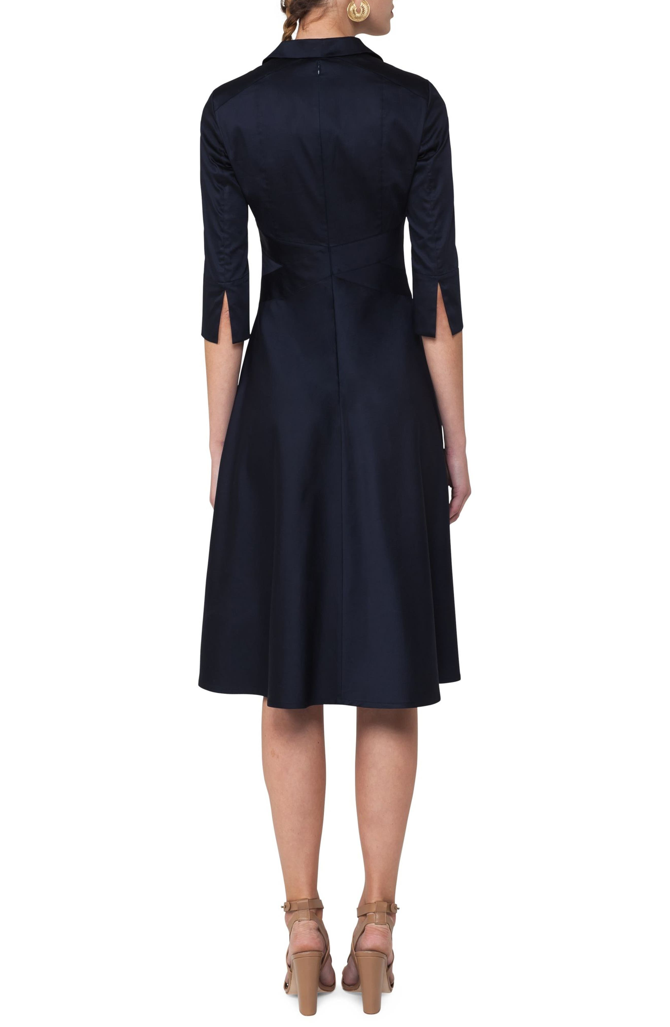 Sateen Fit & Flare Shirtdress,                             Alternate thumbnail 2, color,                             400