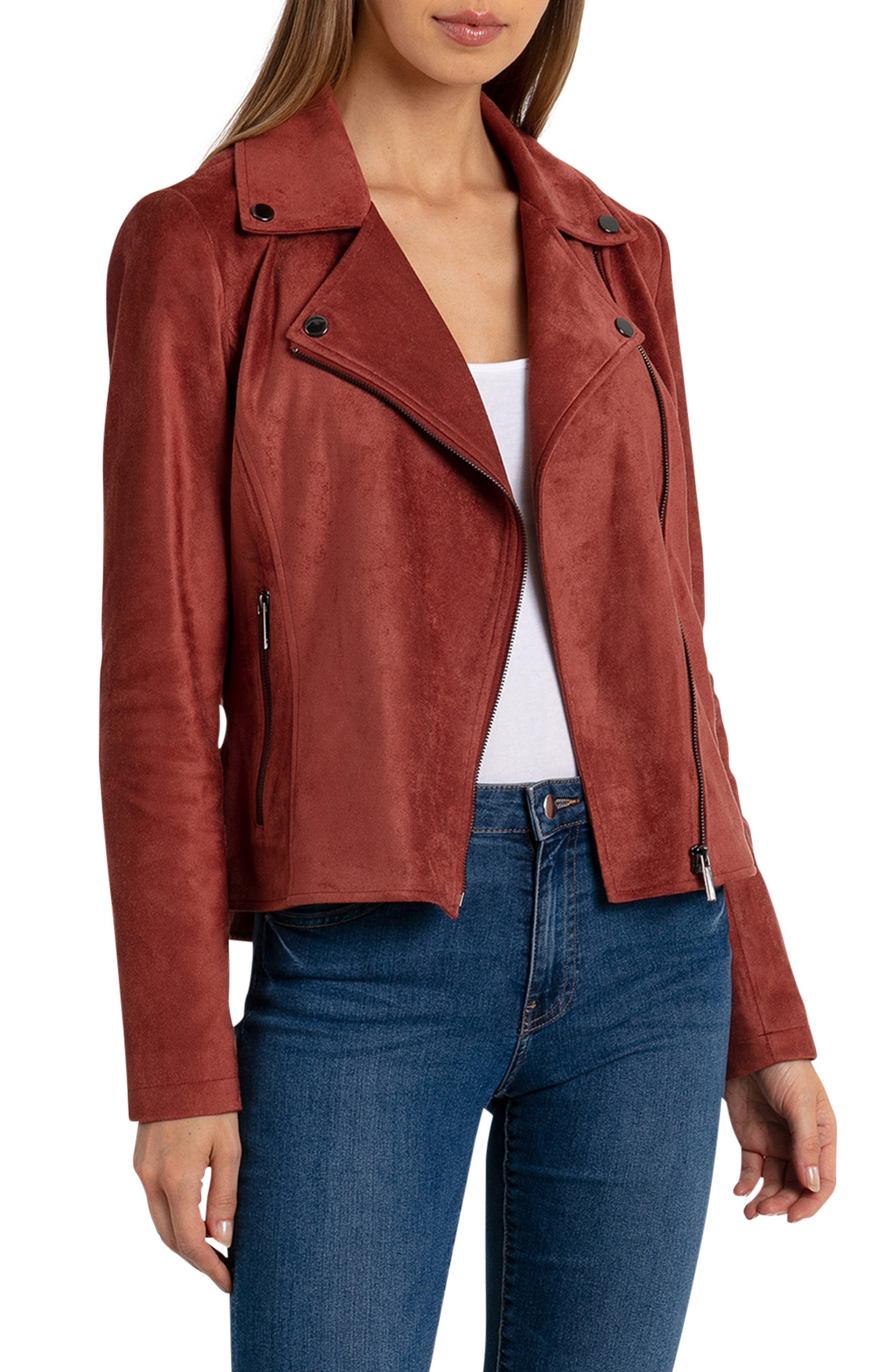 Faux Suede Biker Jacket,                         Main,                         color, TERRACOTTA