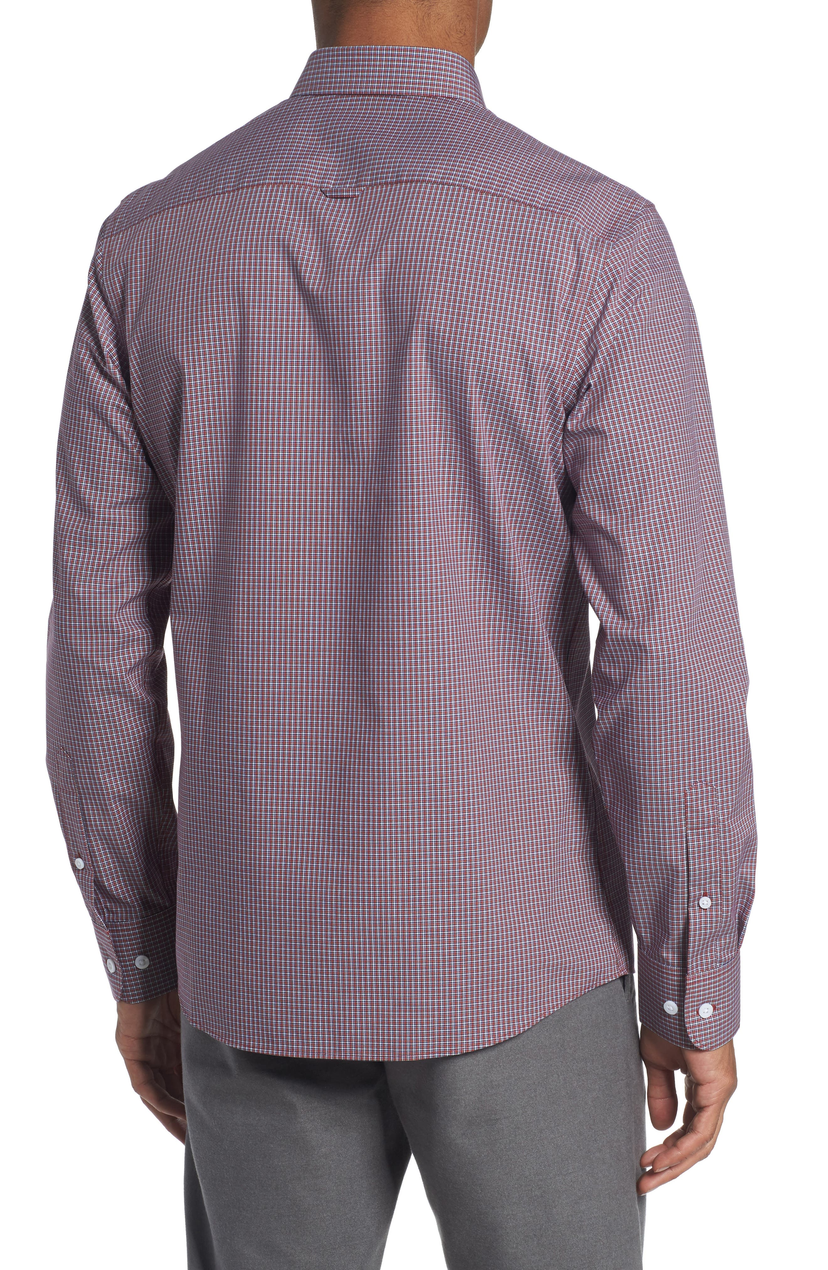Trim Fit Non-Iron Mini Check Sport Shirt,                             Alternate thumbnail 2, color,                             610