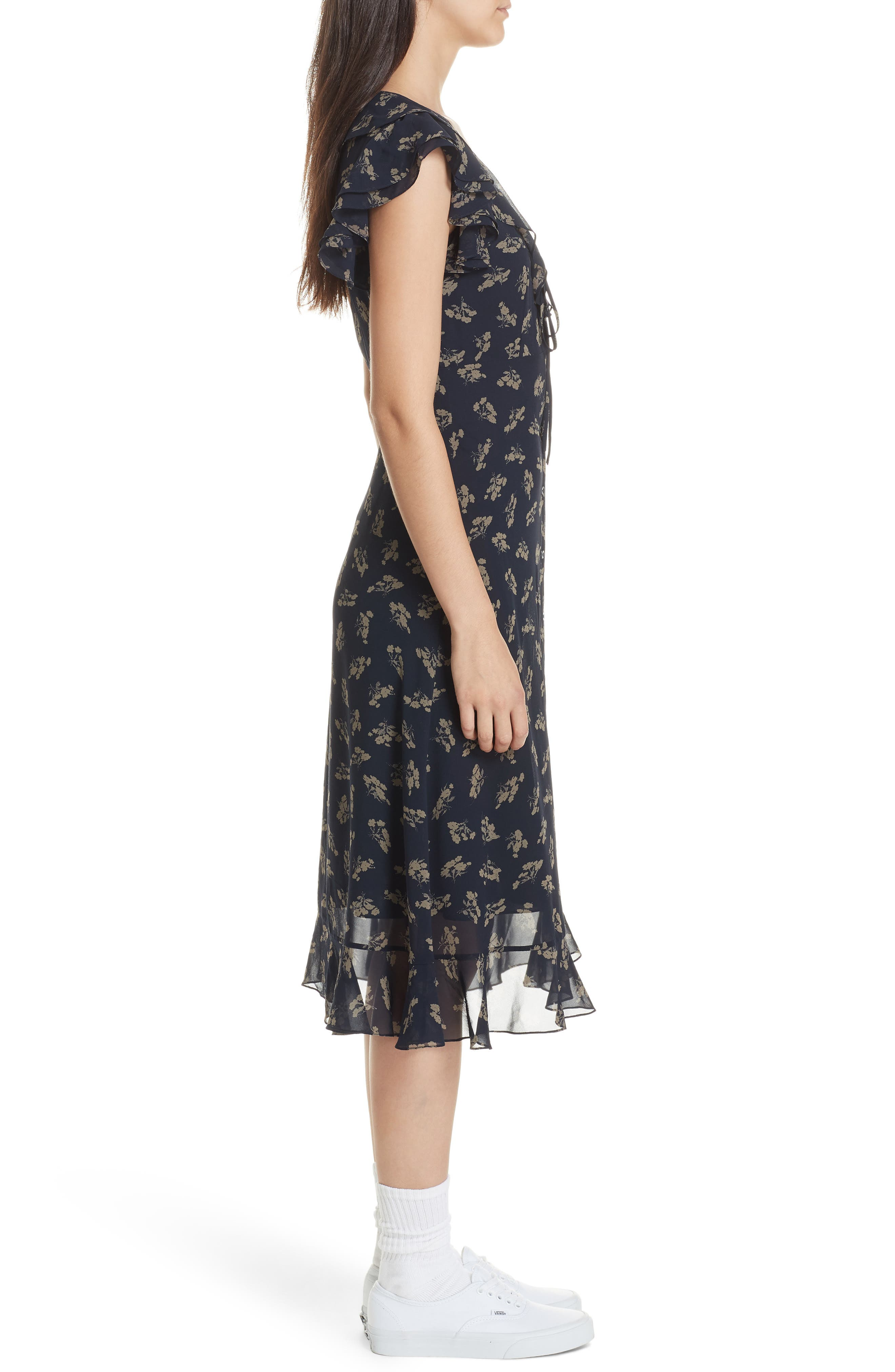 Ruffled Floral Midi Dress,                             Alternate thumbnail 3, color,                             ETCHING FLORAL