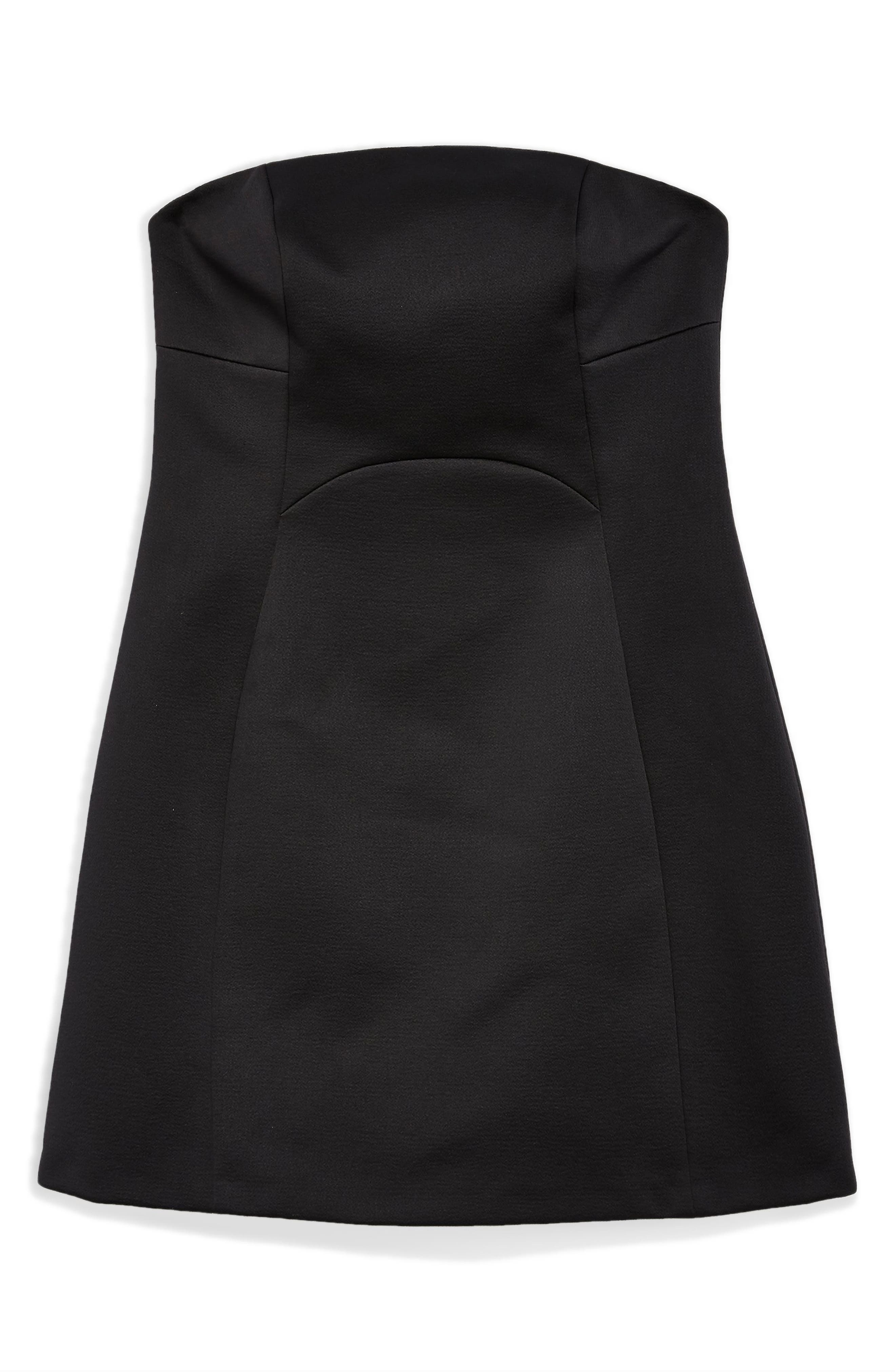 Bonded Crepe Minidress,                             Alternate thumbnail 4, color,                             BLACK