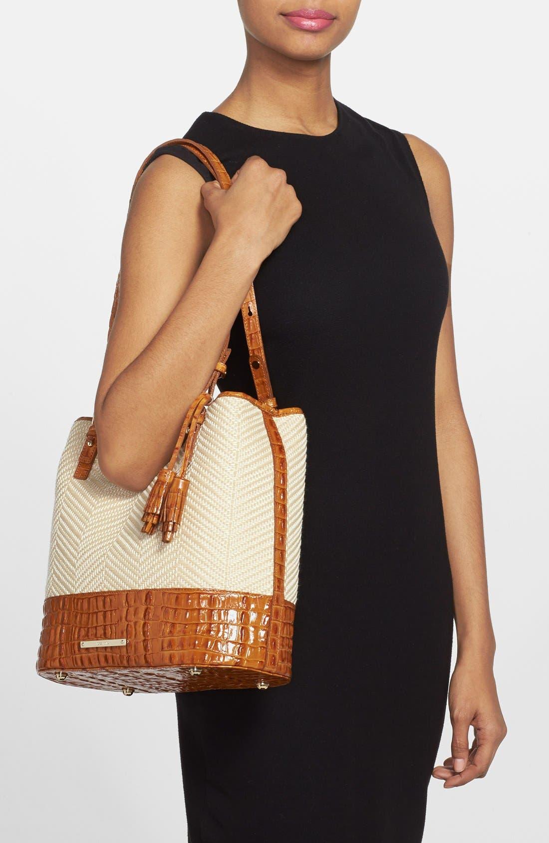 'Hudson' Leather & Raffia Bucket Bag,                             Alternate thumbnail 6, color,                             250