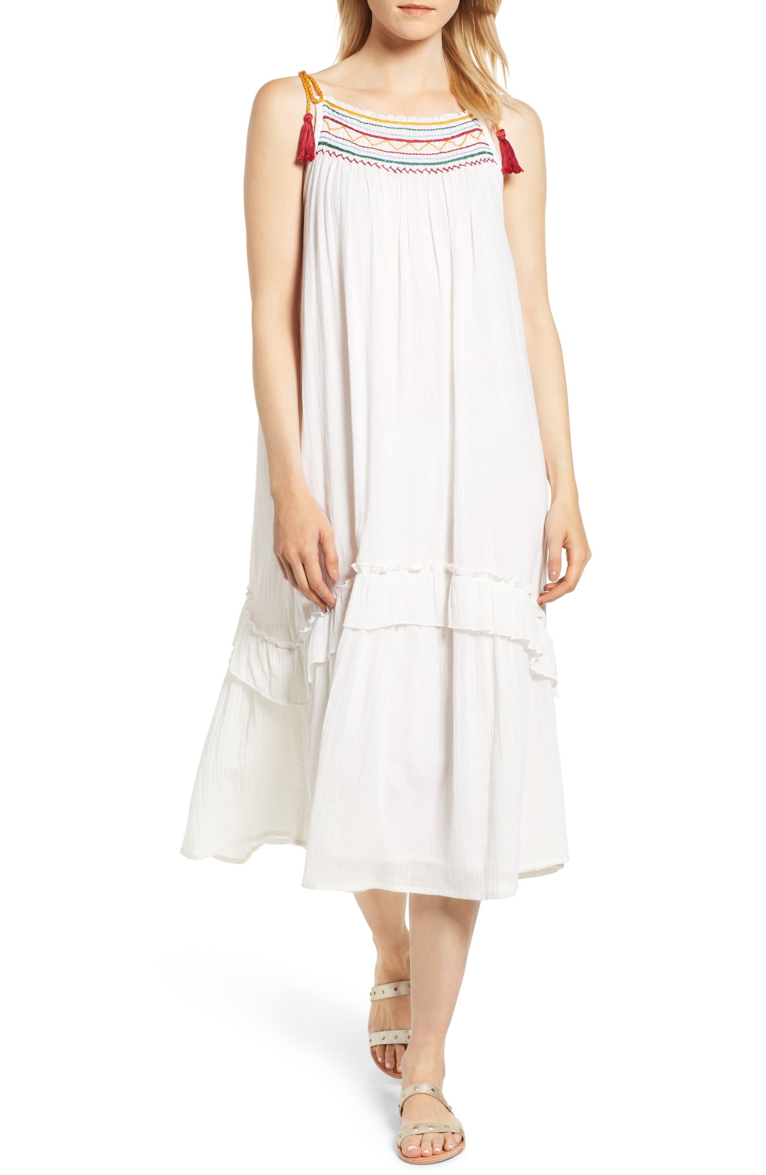 Embroidered Gauze Midi Dress,                             Main thumbnail 1, color,                             124