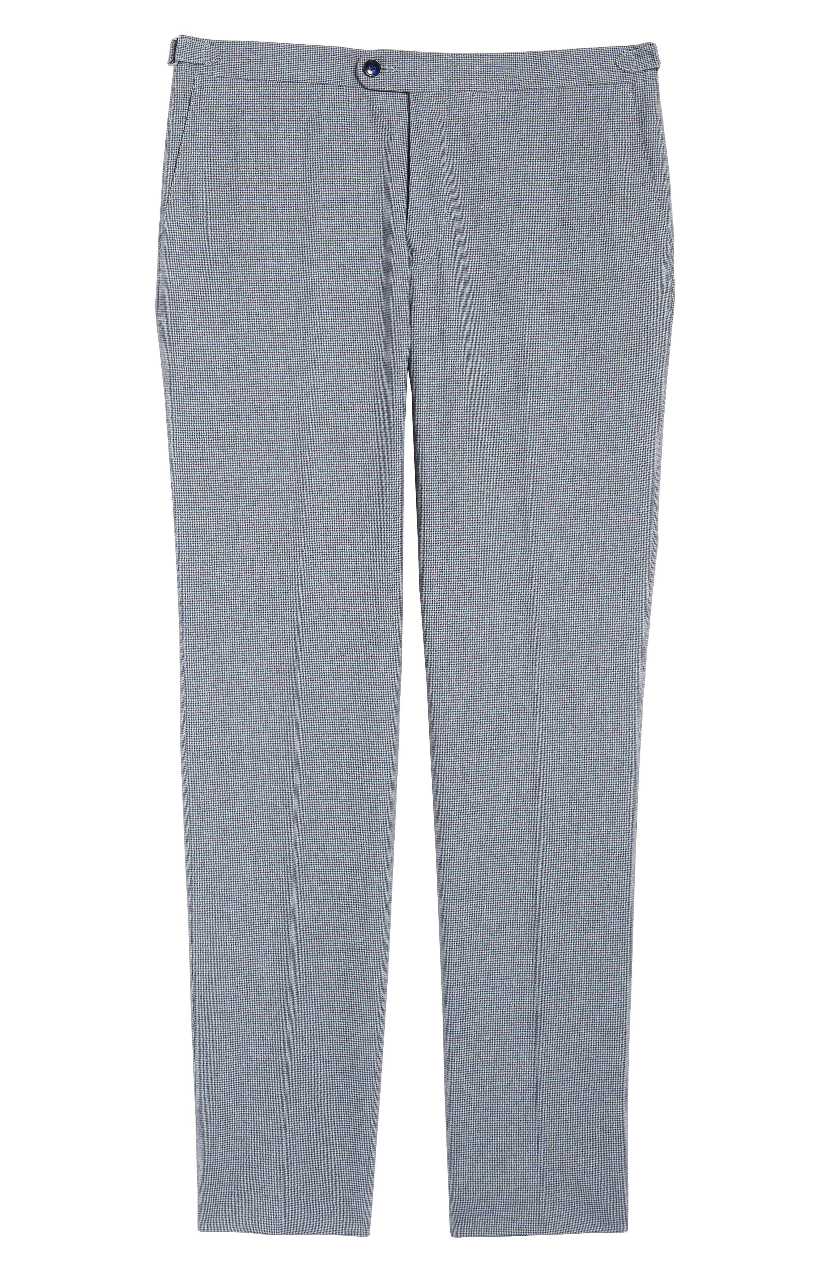 Flat Front Houndstooth Cotton Trousers,                             Alternate thumbnail 6, color,                             431