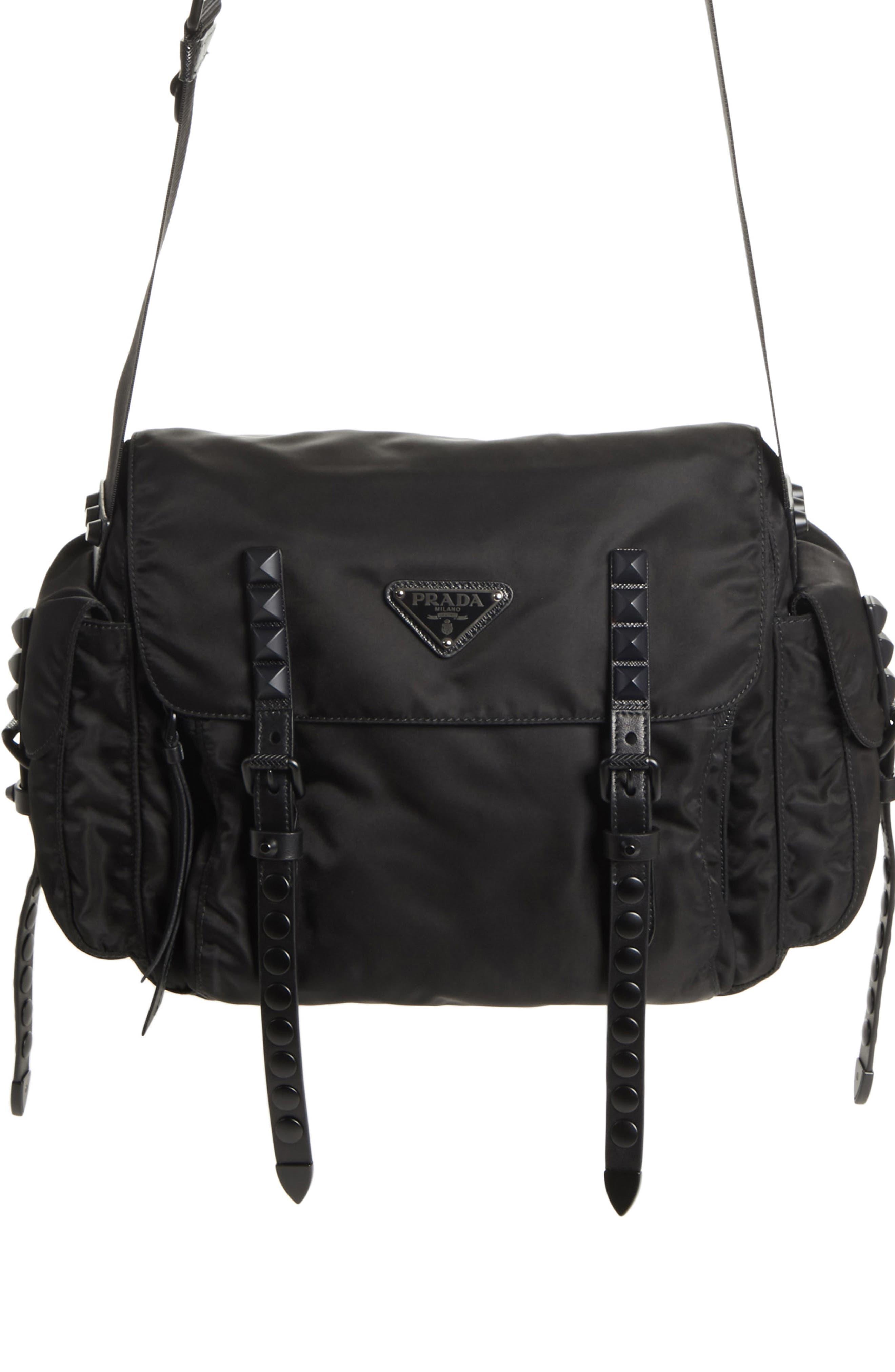 Studded Nylon Messenger Bag, Main, color, 002