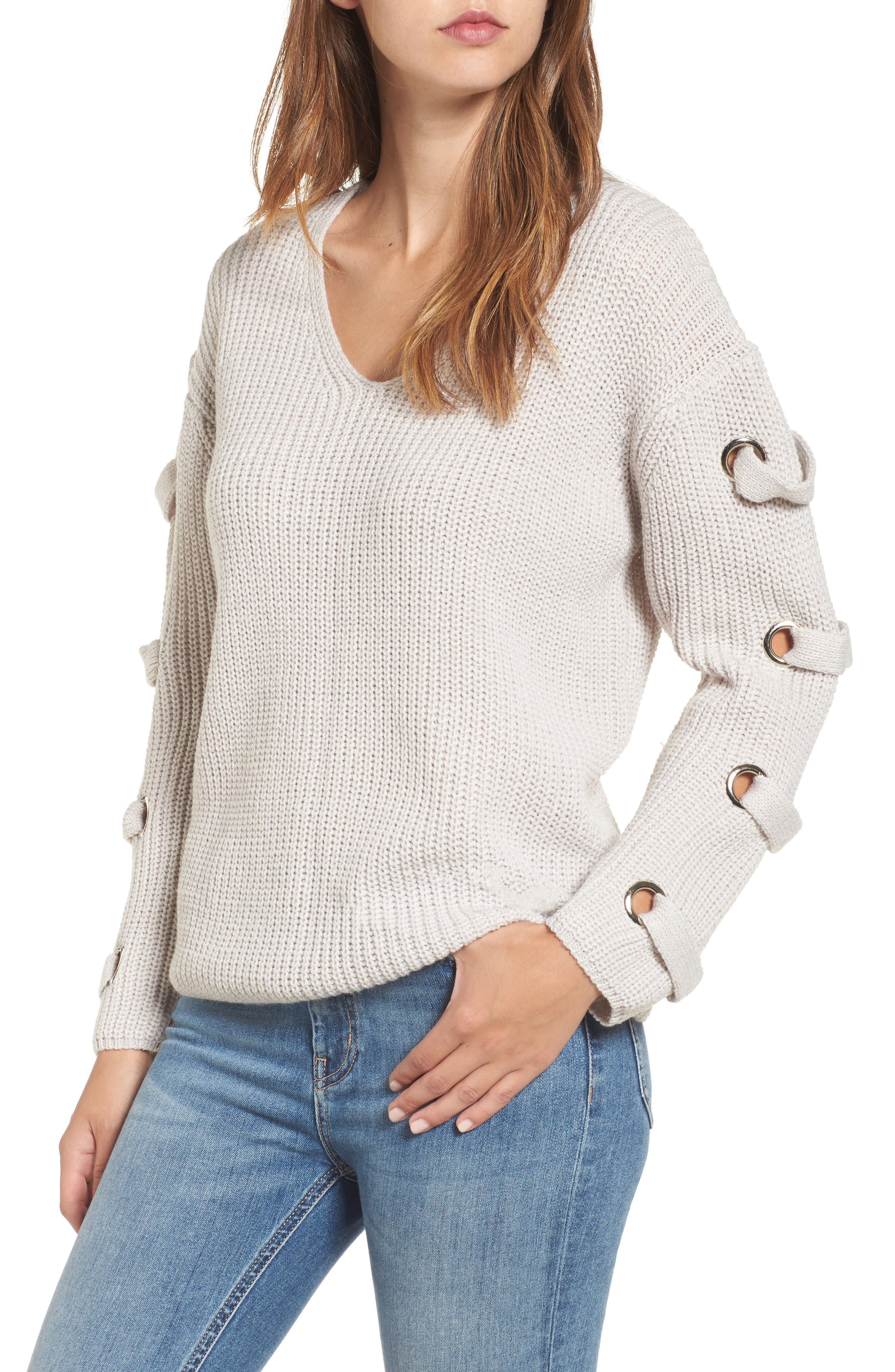 Grommet Sleeve Sweater,                             Main thumbnail 1, color,                             050