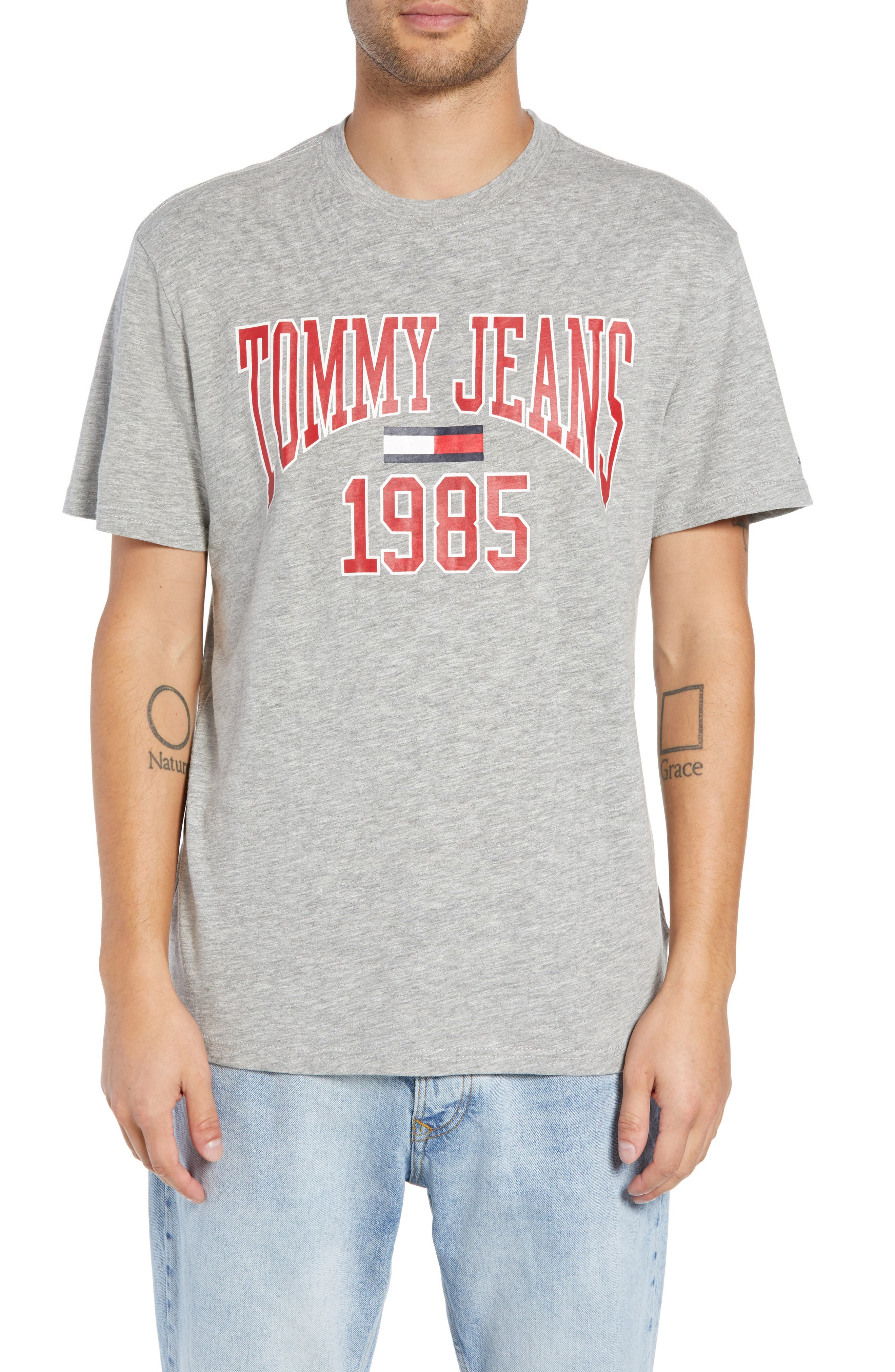 Collegiate Graphic T-Shirt,                         Main,                         color, LIGHT GREY HEATHER