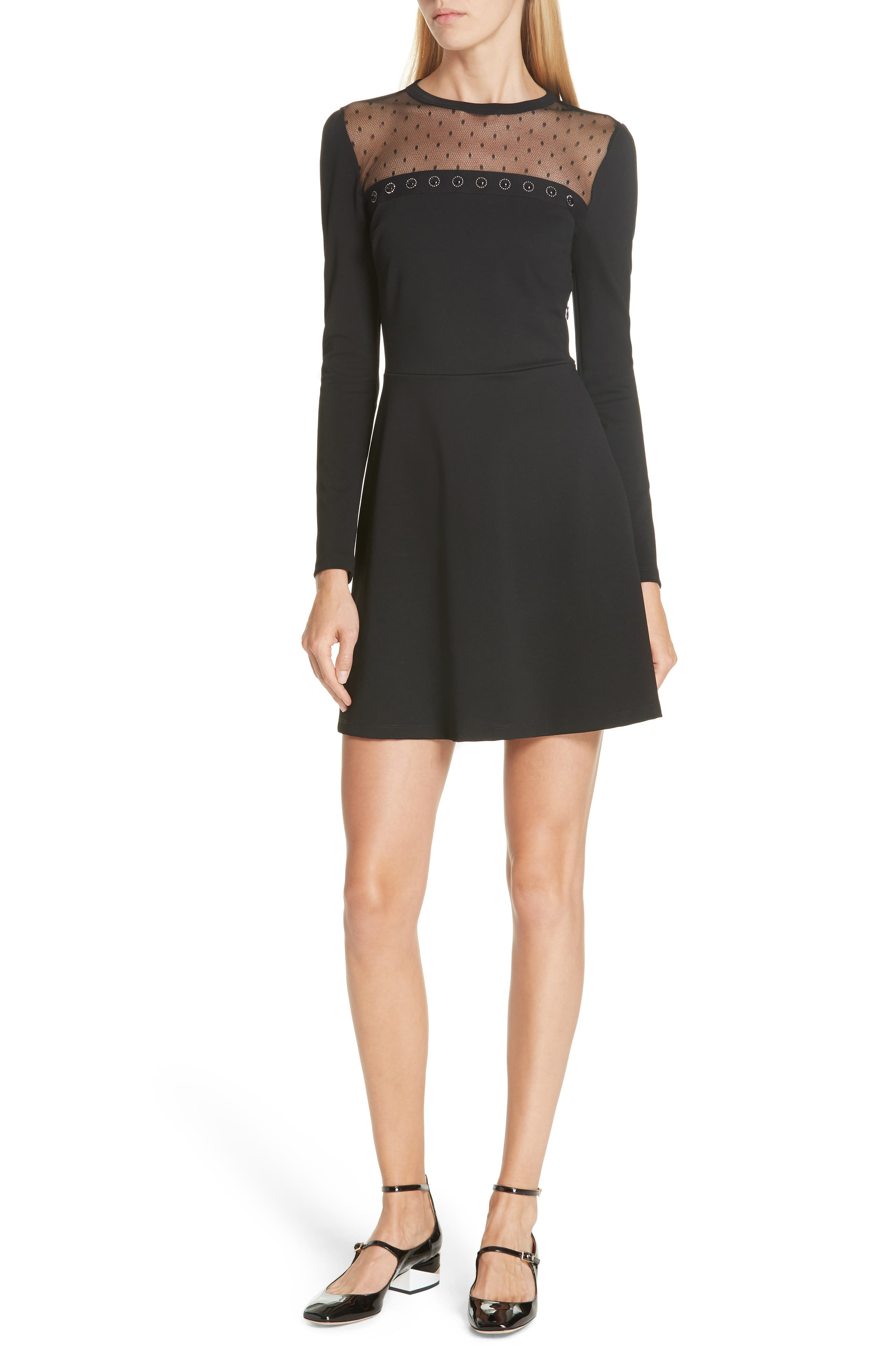 Point d'Esprit Yoke Dress,                             Main thumbnail 1, color,                             BLACK