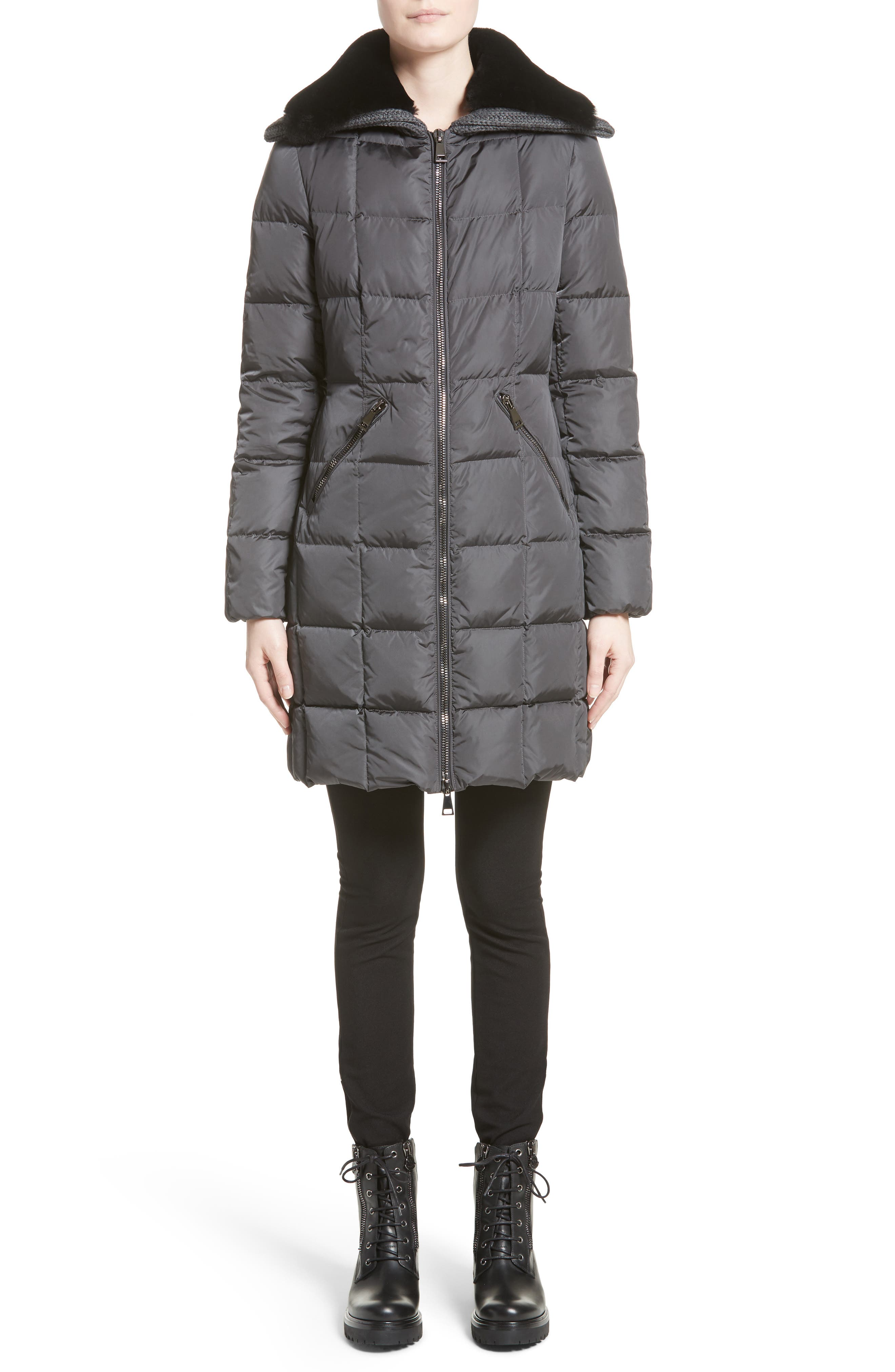 Davidia Quilted Down Coat with Removable Genuine Lamb Fur Collar,                             Alternate thumbnail 7, color,                             GREY