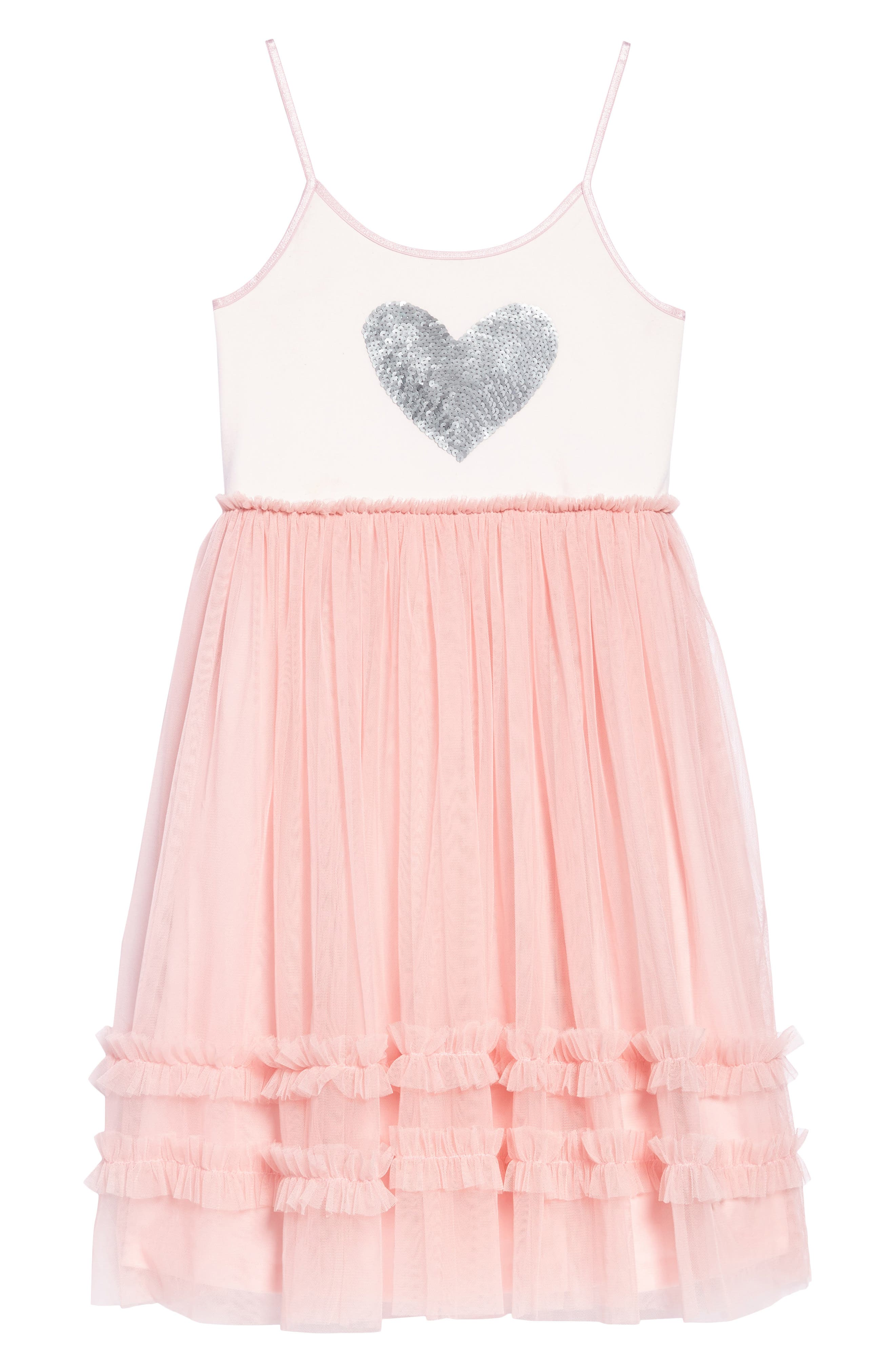 Sequin Heart Dress with Tulle Skirt,                         Main,                         color, 650
