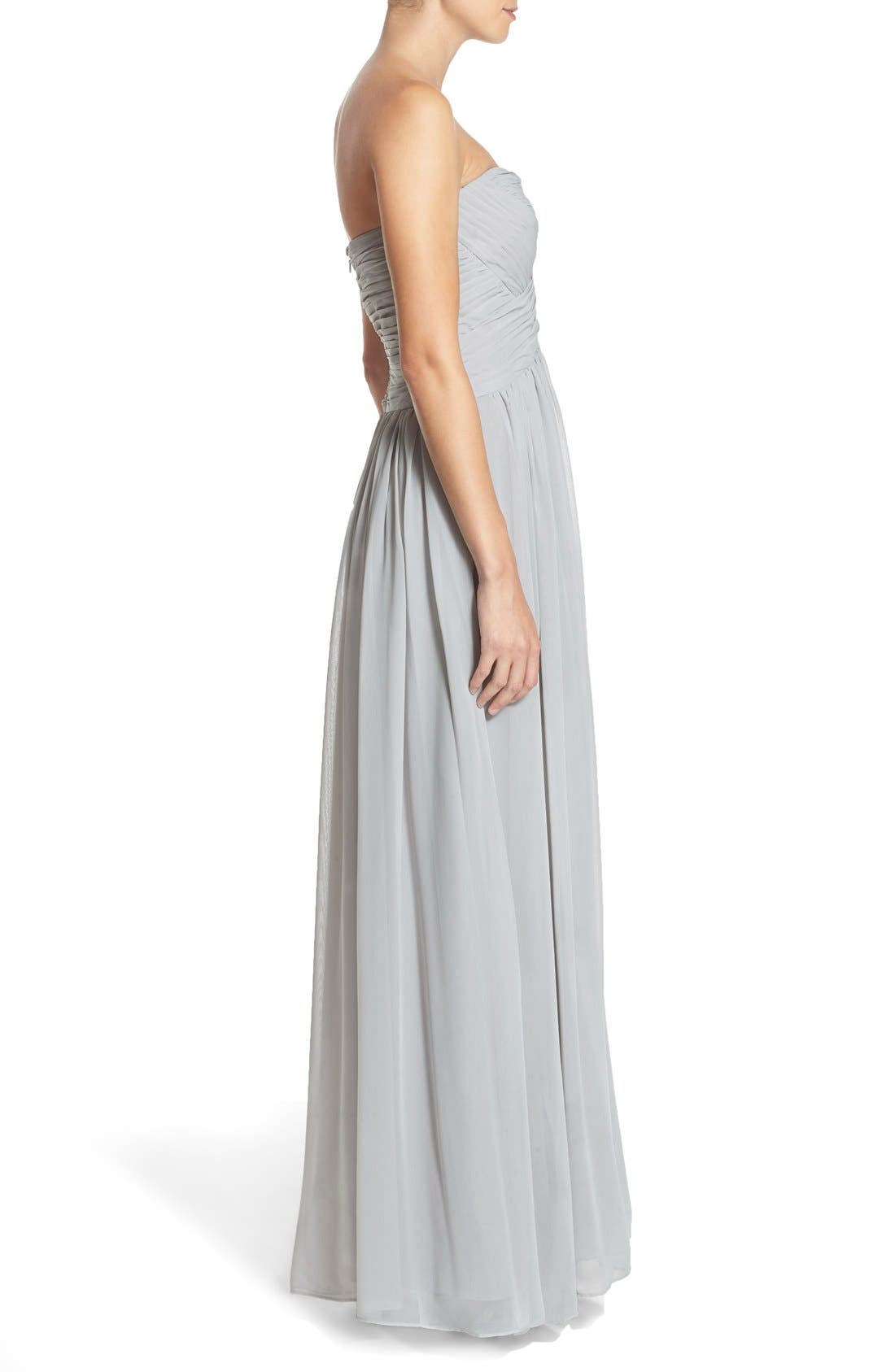 Strapless Ruched Chiffon Gown,                             Alternate thumbnail 2, color,                             021