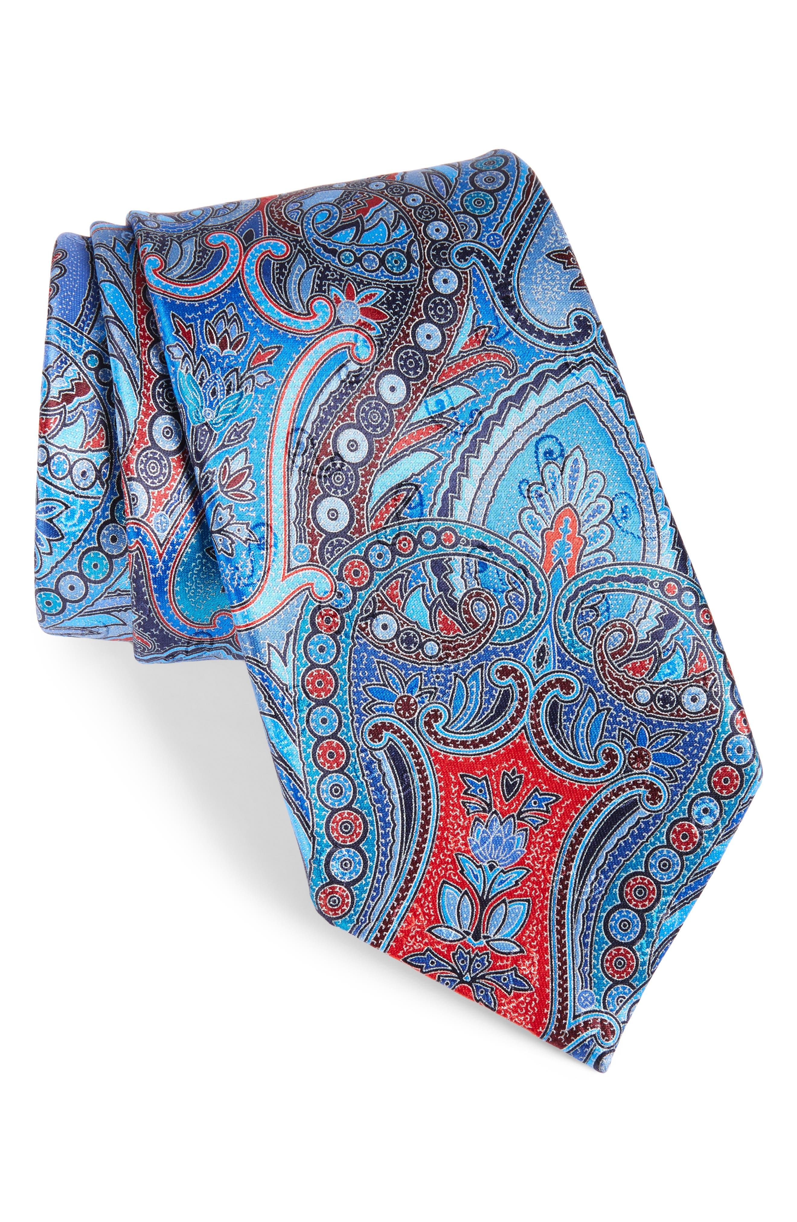 Quindici Paisley Silk Tie,                         Main,                         color, 418