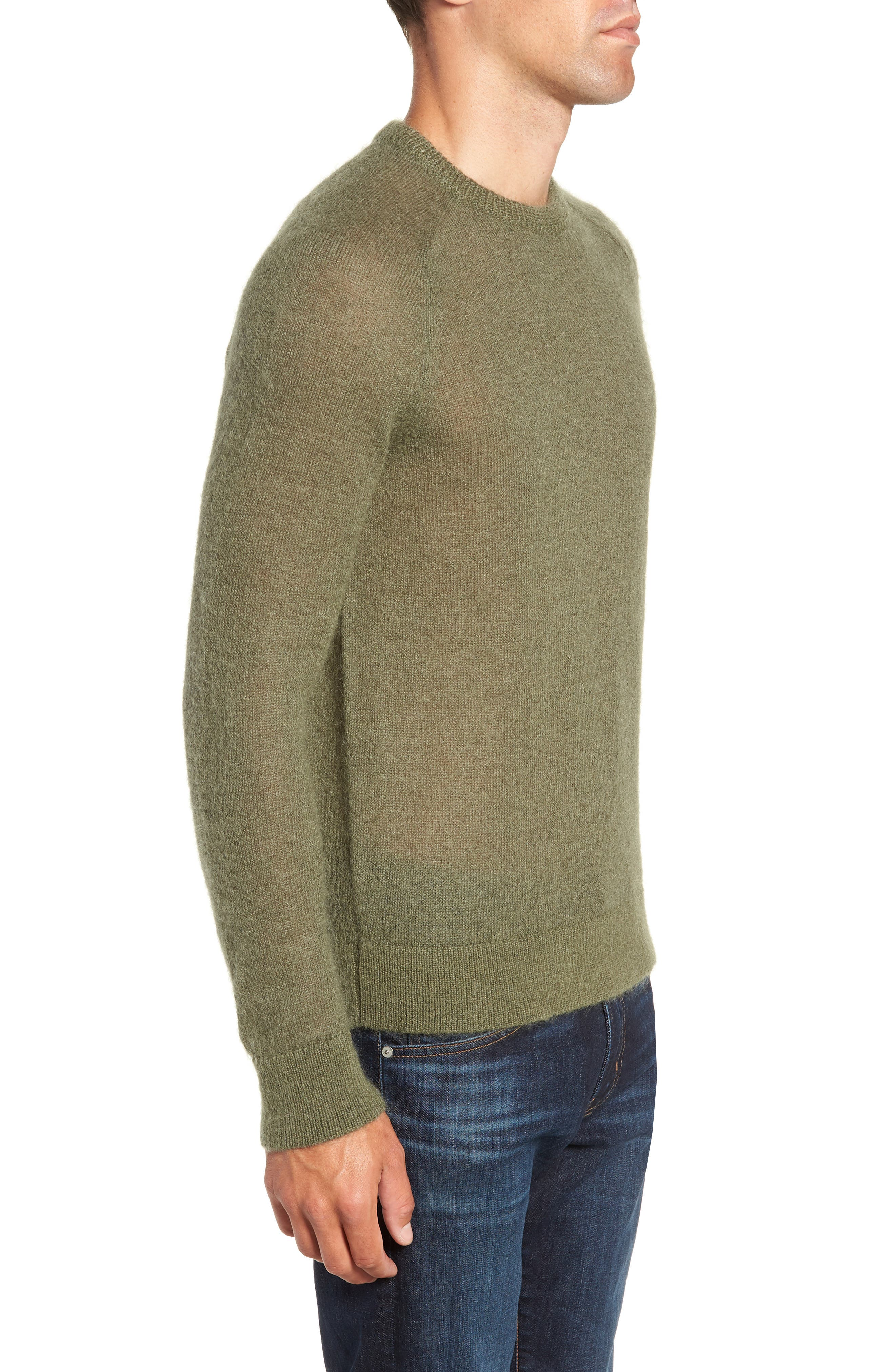 Mohair Blend Crewneck Sweater,                             Alternate thumbnail 3, color,                             DARK OLIVE