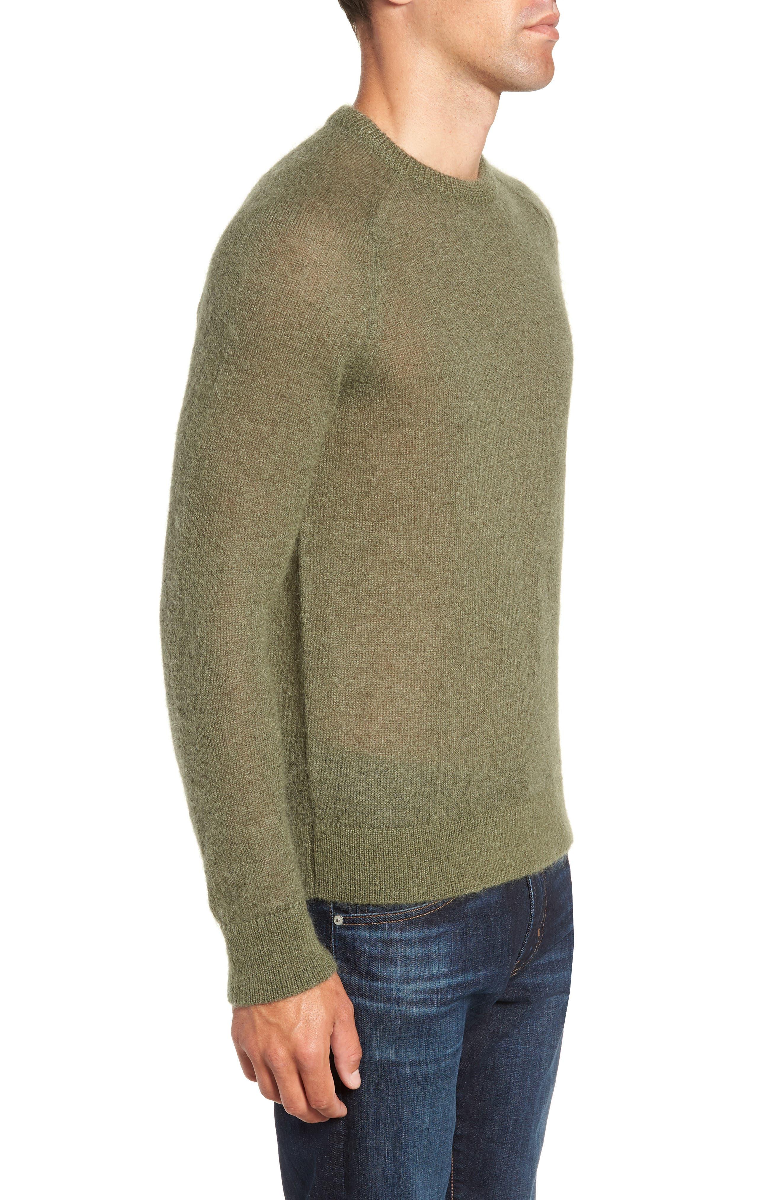 Mohair Blend Crewneck Sweater,                             Alternate thumbnail 3, color,                             340