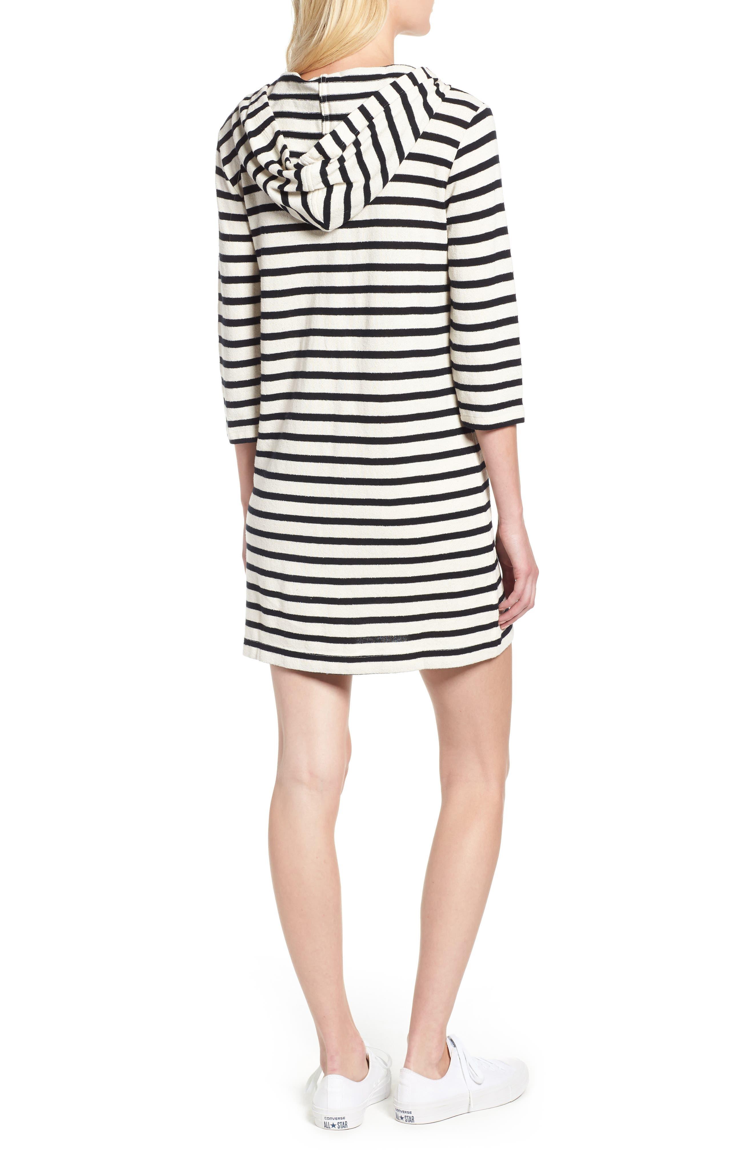Striped Hoodie Dress,                             Alternate thumbnail 3, color,                             BLACK/ WHITE