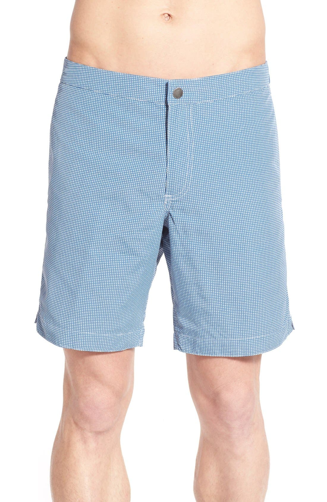 Aruba Tailored Fit Microcheck 8.5 Inch Swim Trunks,                             Main thumbnail 1, color,                             MICRO SQUARE ASH BLUE