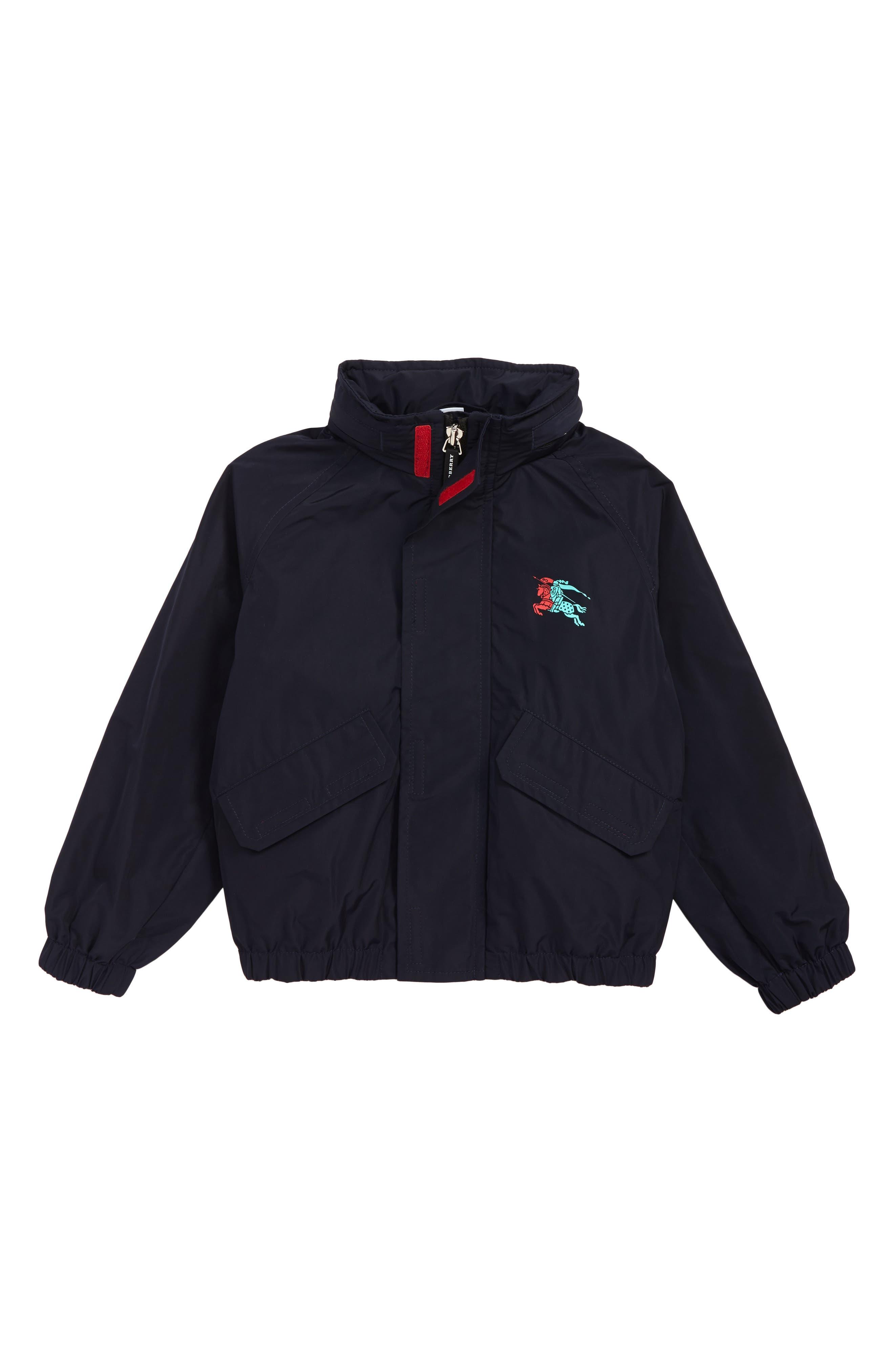 Boys Burberry Easton Waterproof Hooded Jacket Size 14Y  Blue