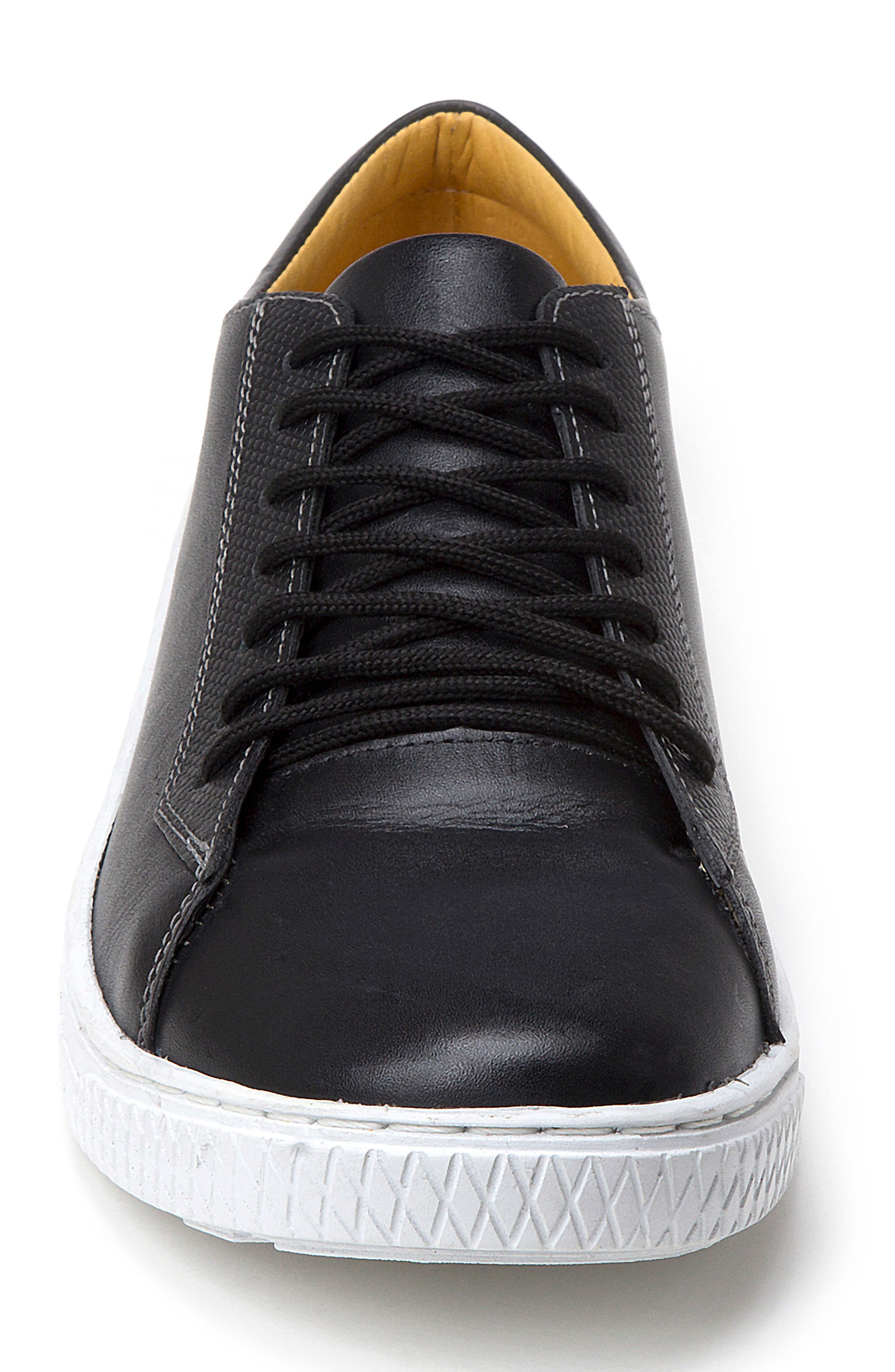 Minh Low Top Sneaker,                             Alternate thumbnail 4, color,                             BLACK LEATHER