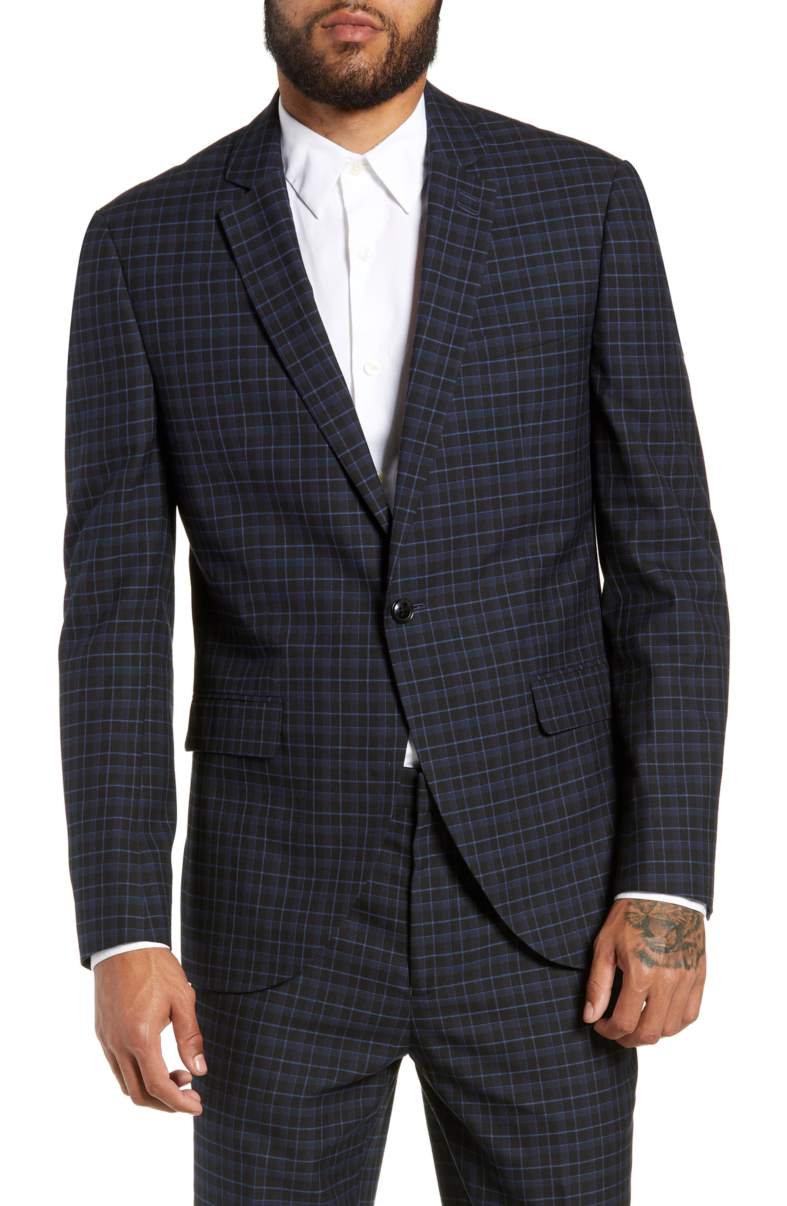 Alsager Slim Fit Check Suit Jacket,                             Main thumbnail 1, color,                             021