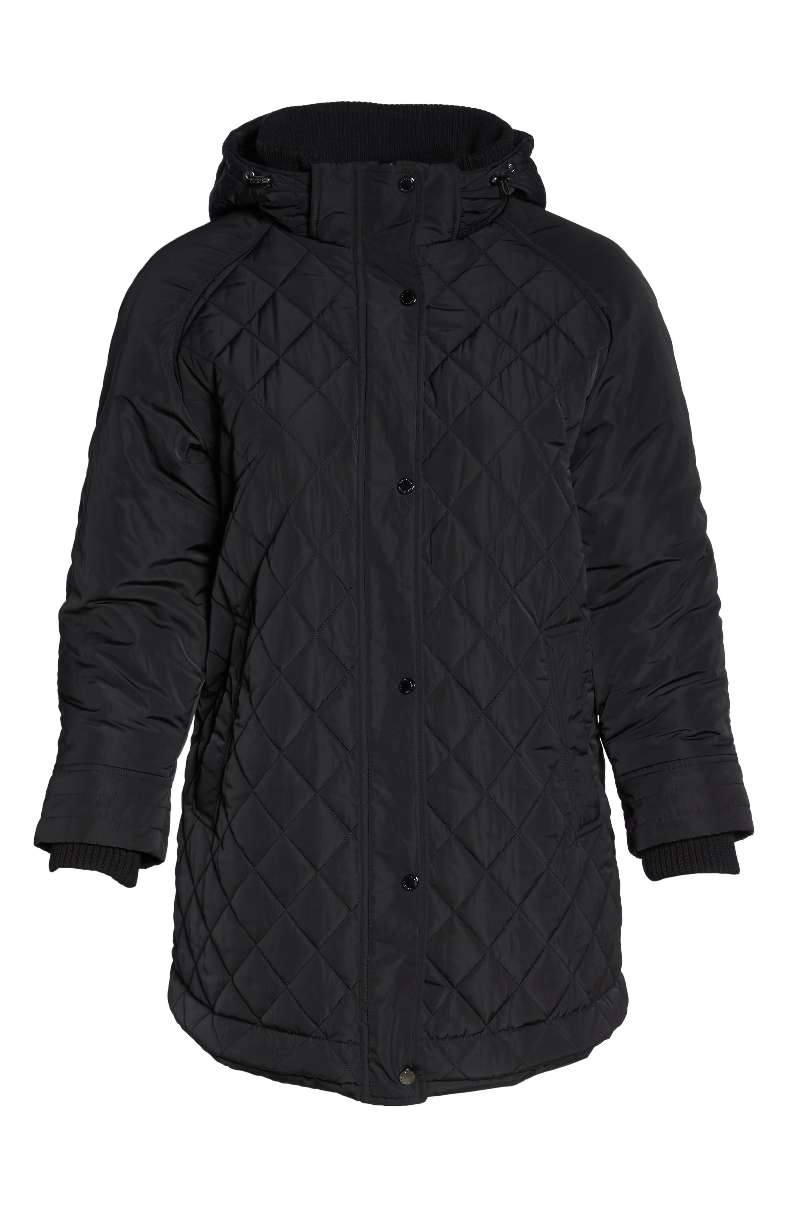 Quilted Hooded Jacket,                             Alternate thumbnail 5, color,                             001