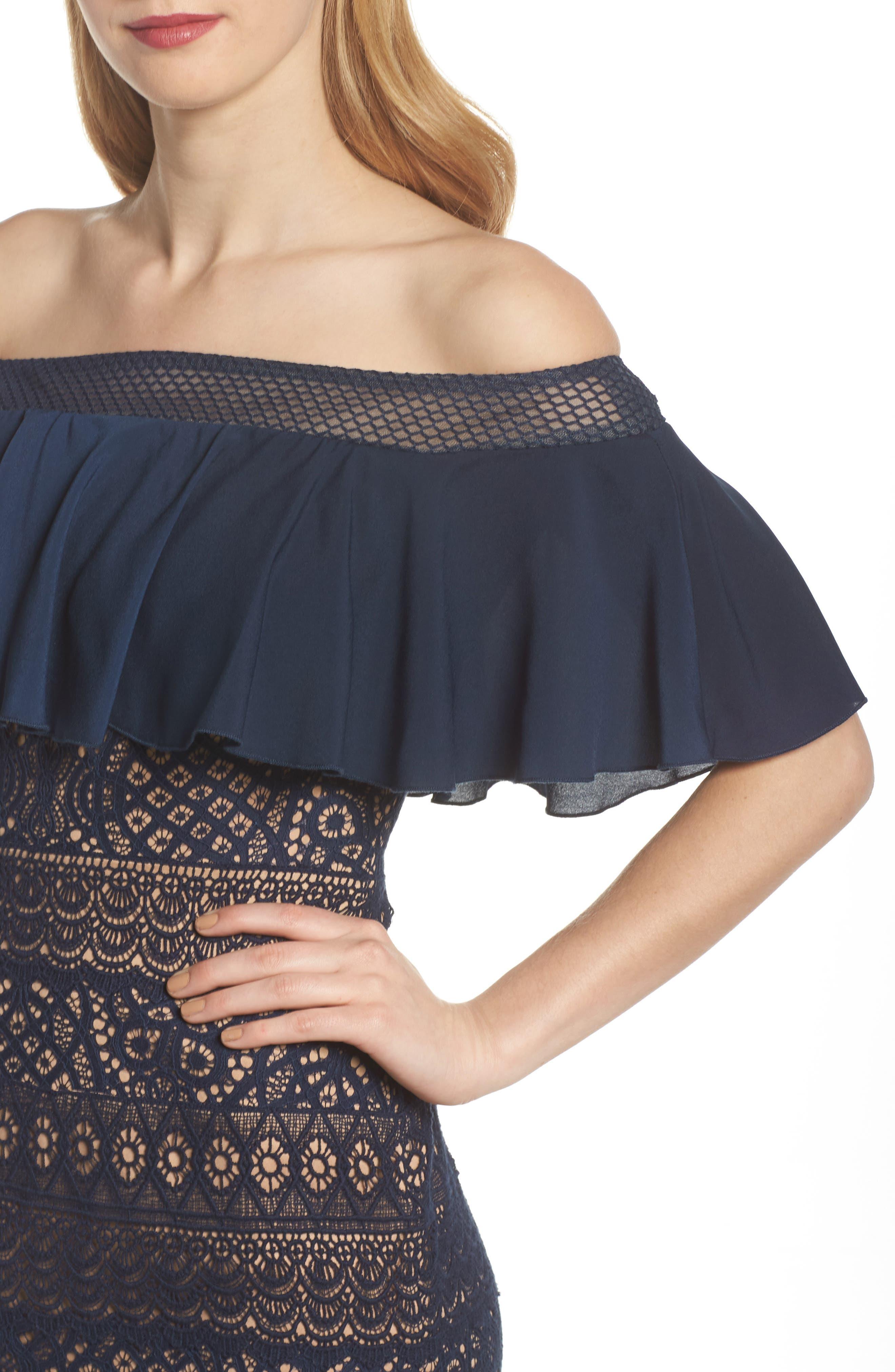 Off the Shoulder Sheath Dress,                             Alternate thumbnail 4, color,                             408