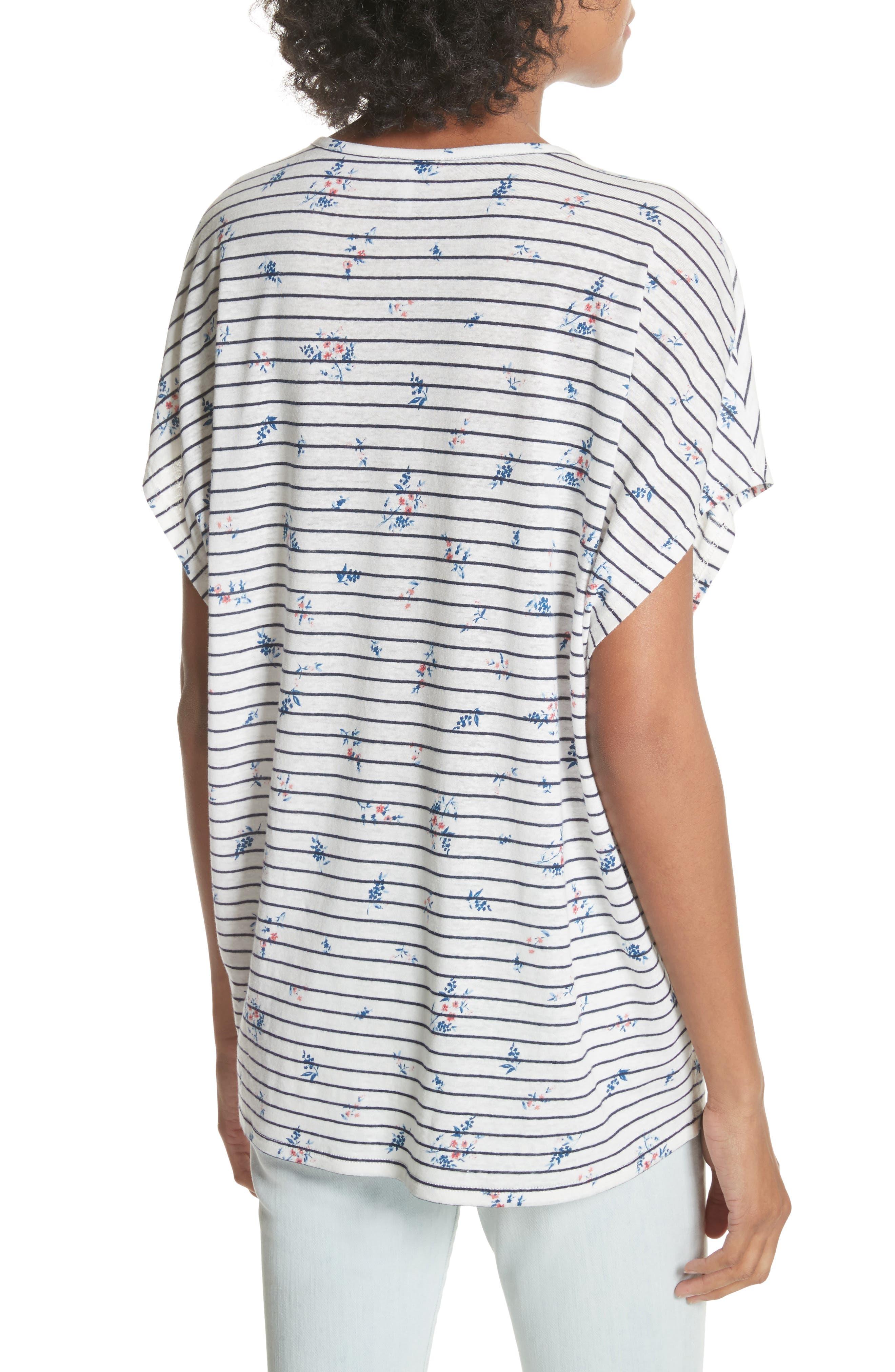 Riker Floral Stripe Linen Blend Top,                             Alternate thumbnail 2, color,                             131