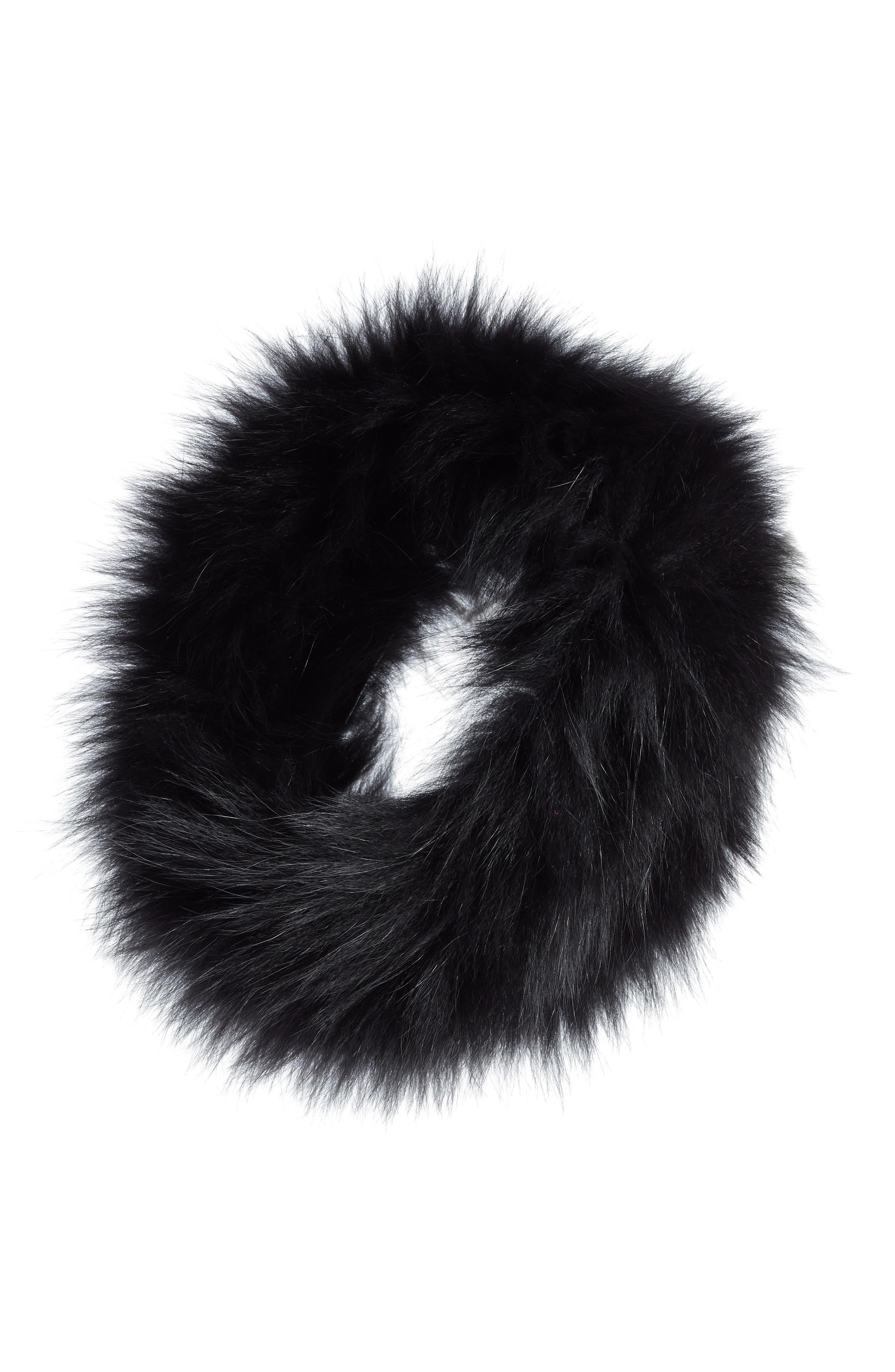 LA FIORENTINA Genuine Fox Fur Headband in Black