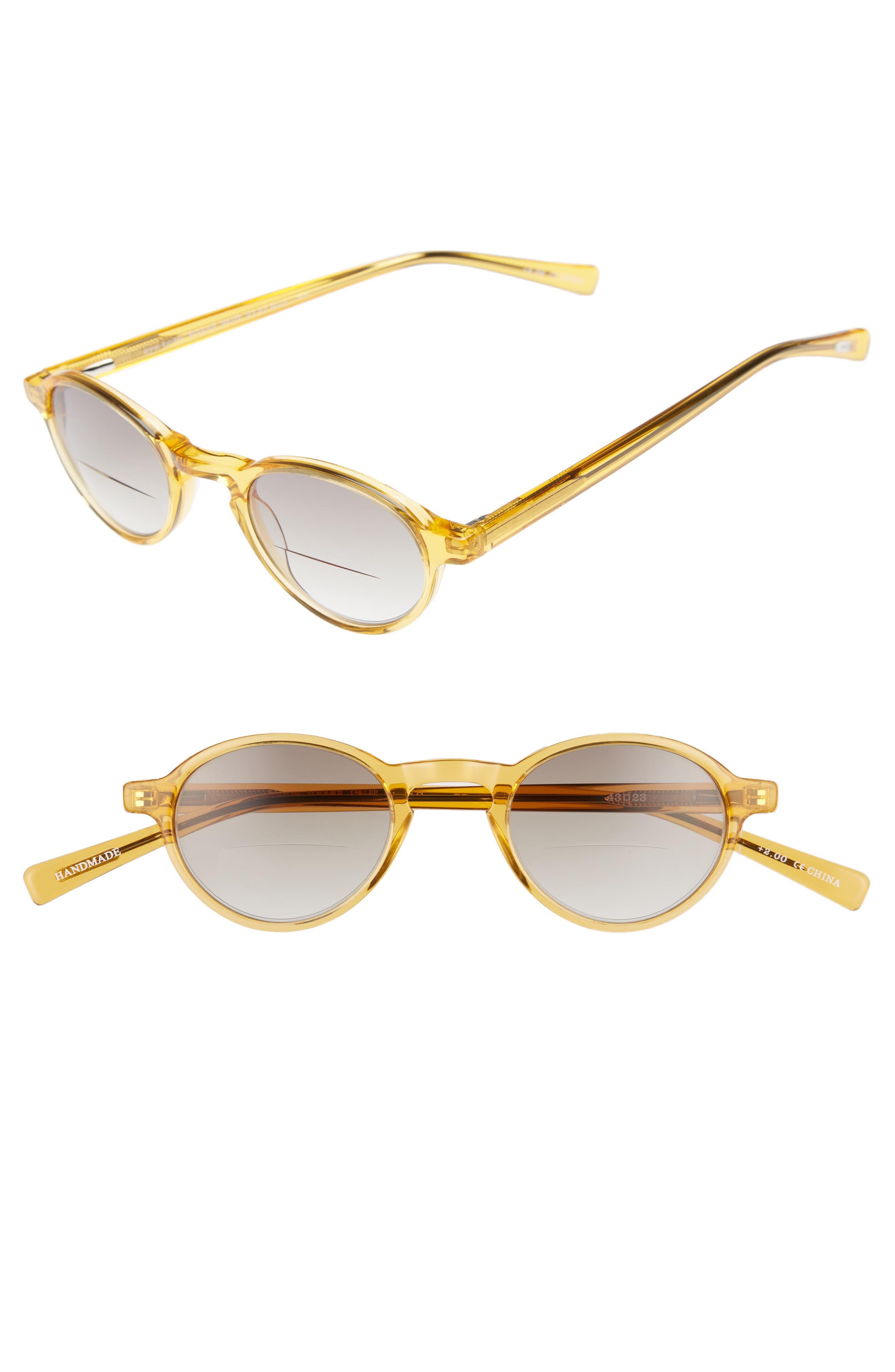 Board Stiff 43mm Reading Sunglasses,                             Main thumbnail 1, color,                             ORANGE CRYSTAL