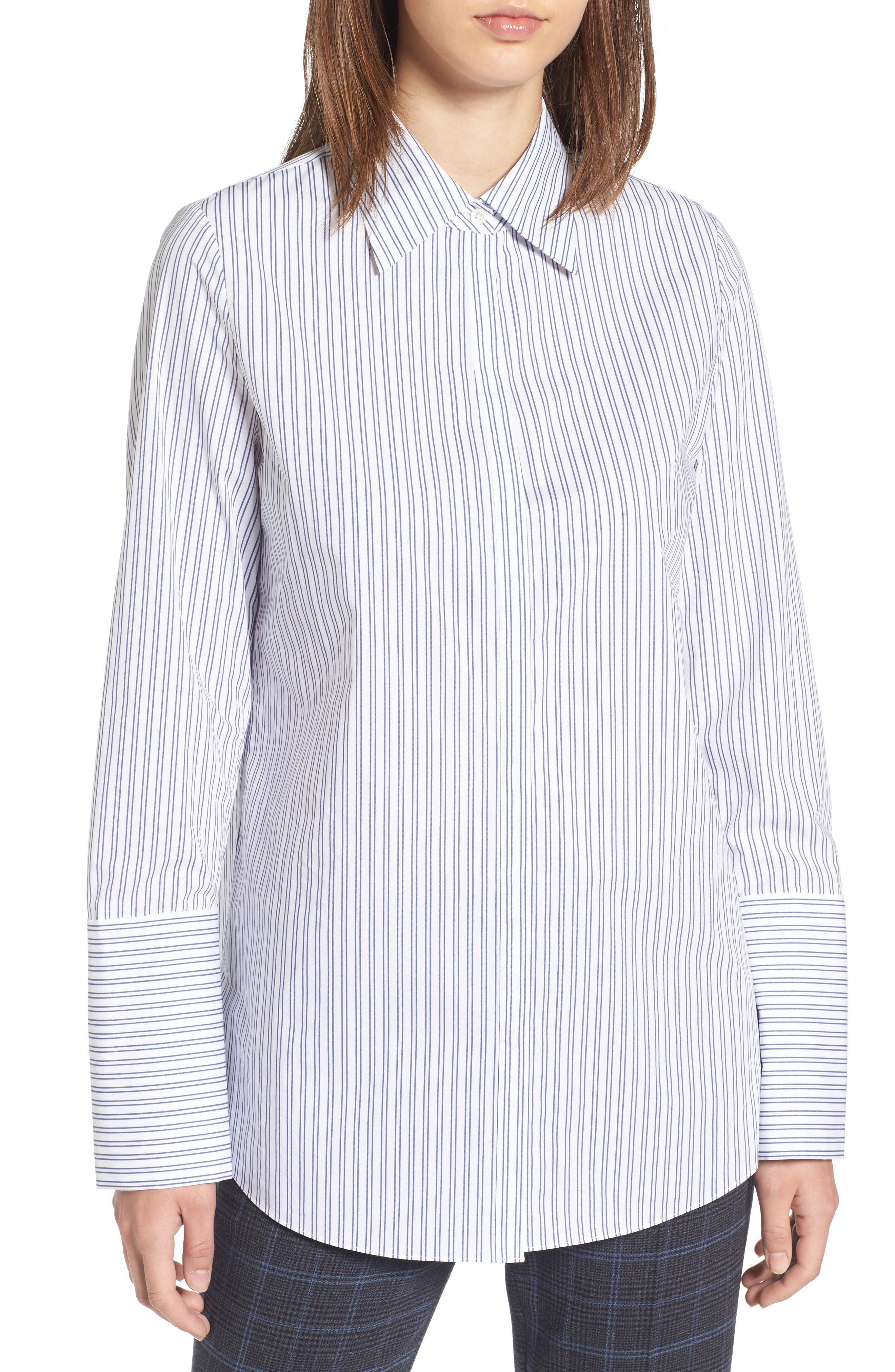 Exaggerated Cuff Stripe Shirt,                             Main thumbnail 1, color,                             450