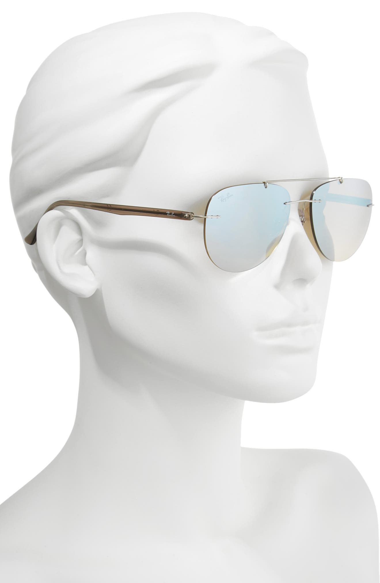 Phantos 57mm Mirrored Rimless Aviator Sunglasses,                             Alternate thumbnail 2, color,                             040