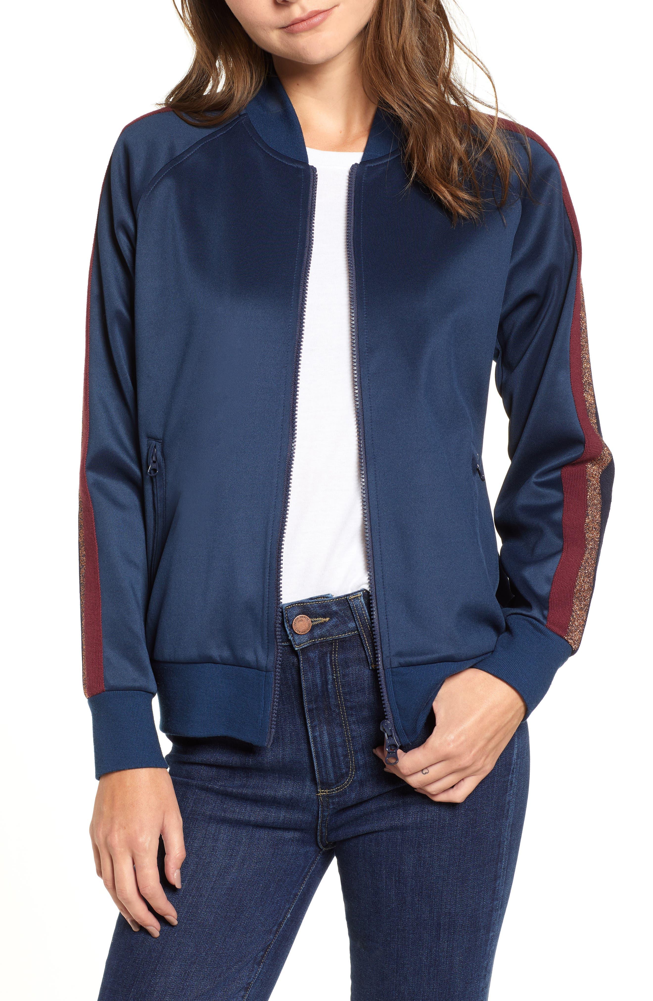 Metallic Stripe Track Jacket,                             Main thumbnail 1, color,                             NAVY