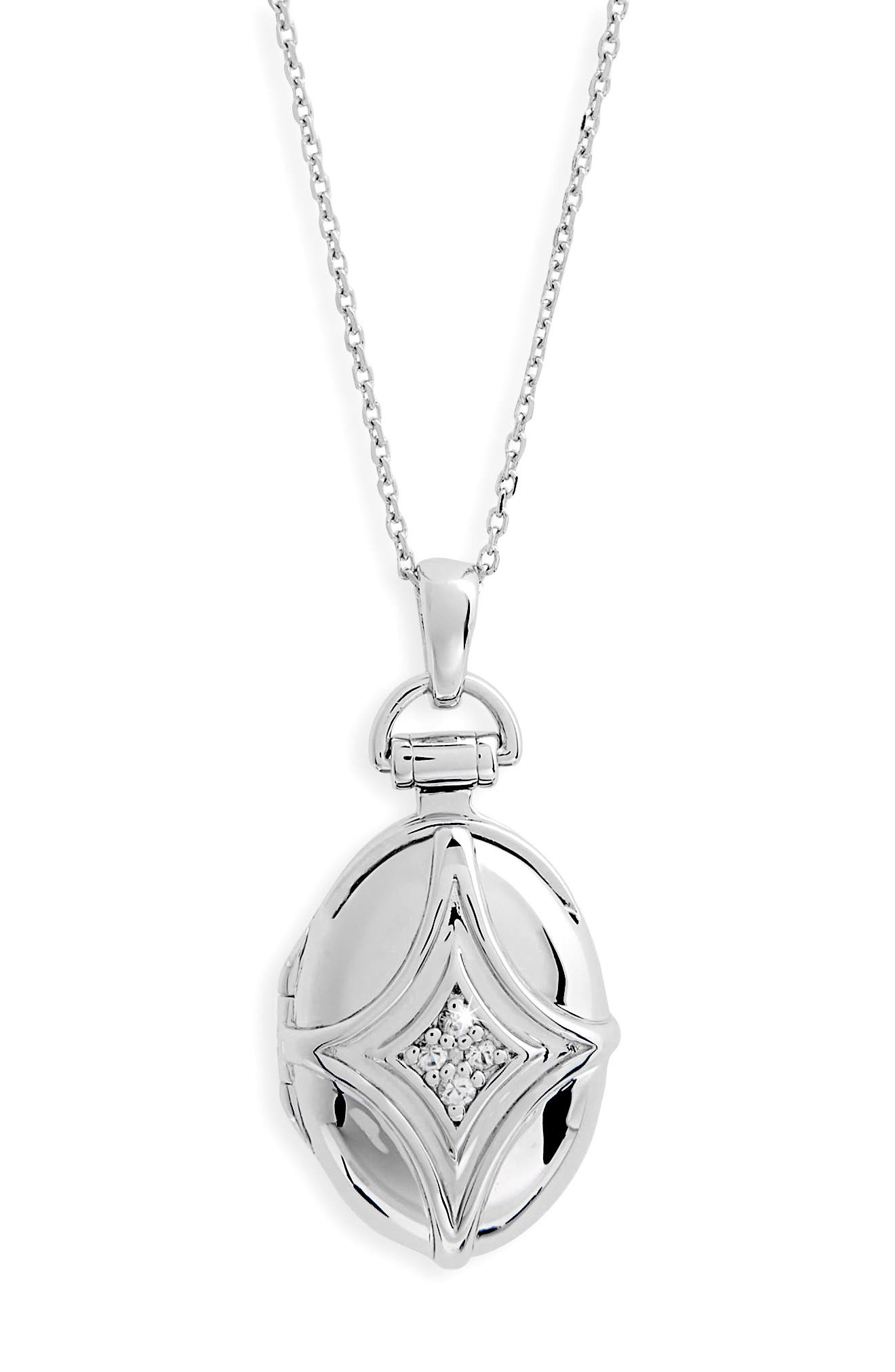 White Sapphire Bridle Locket Necklace,                             Alternate thumbnail 2, color,                             STERLING SILVER