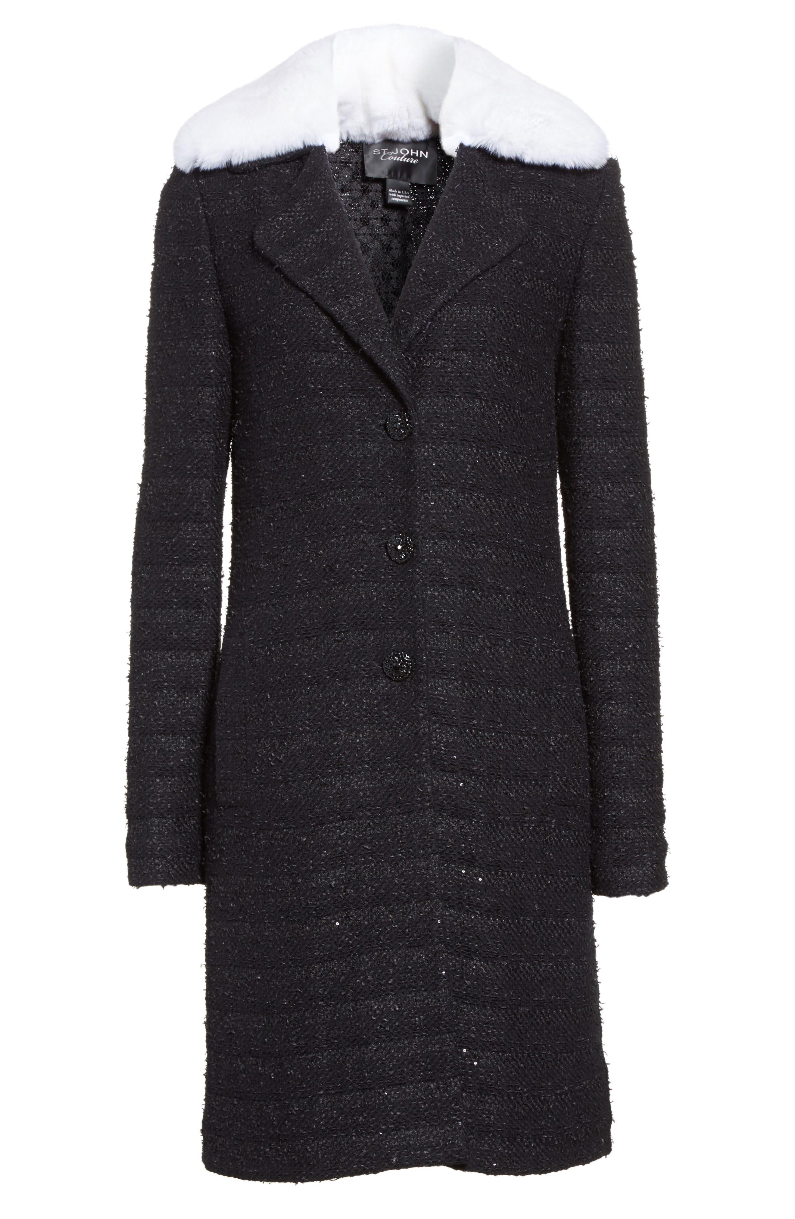 Sequin Knit Topper with Detachable Genuine Rabbit Fur Collar,                             Alternate thumbnail 6, color,                             001