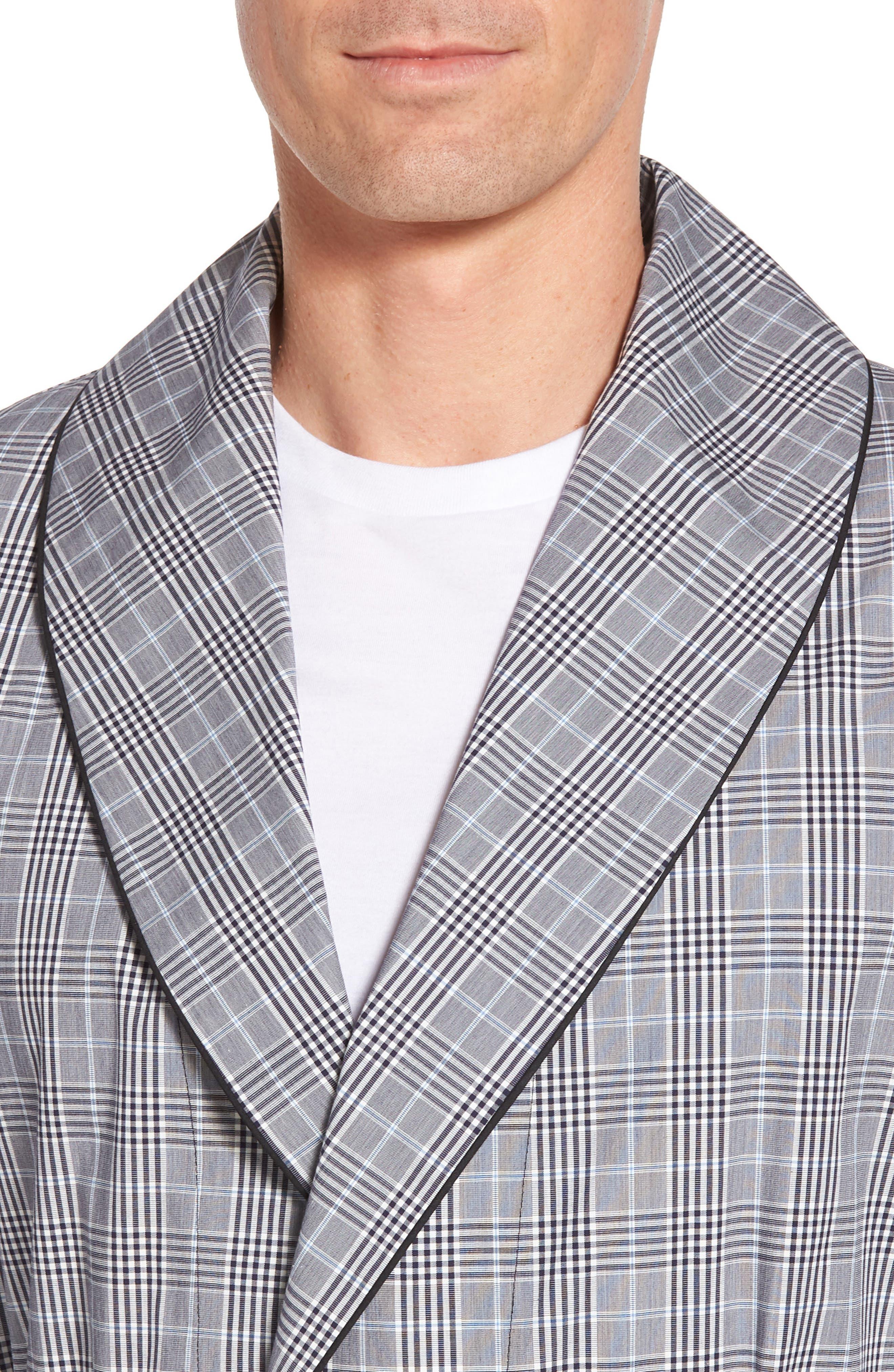 Charleston Robe,                             Alternate thumbnail 4, color,                             BLACK PLAID