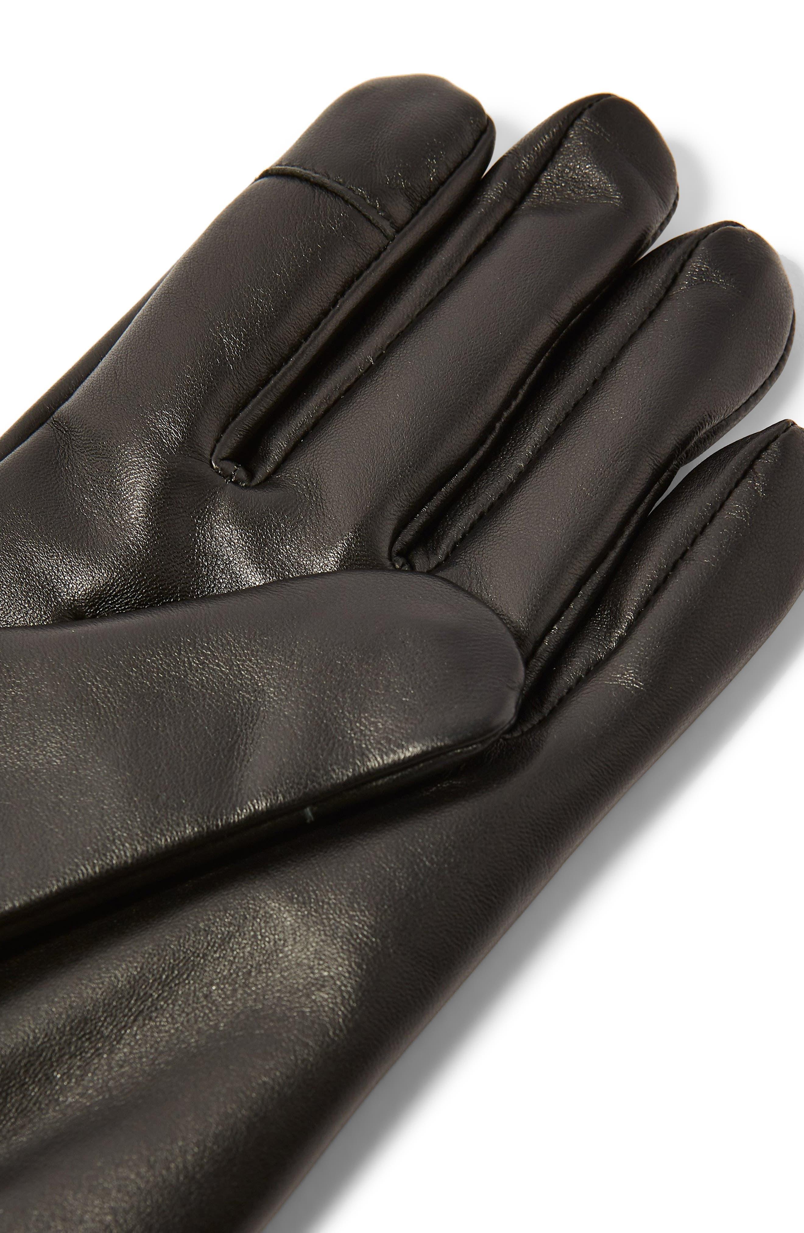 Leather Gloves,                             Alternate thumbnail 2, color,                             BLACK
