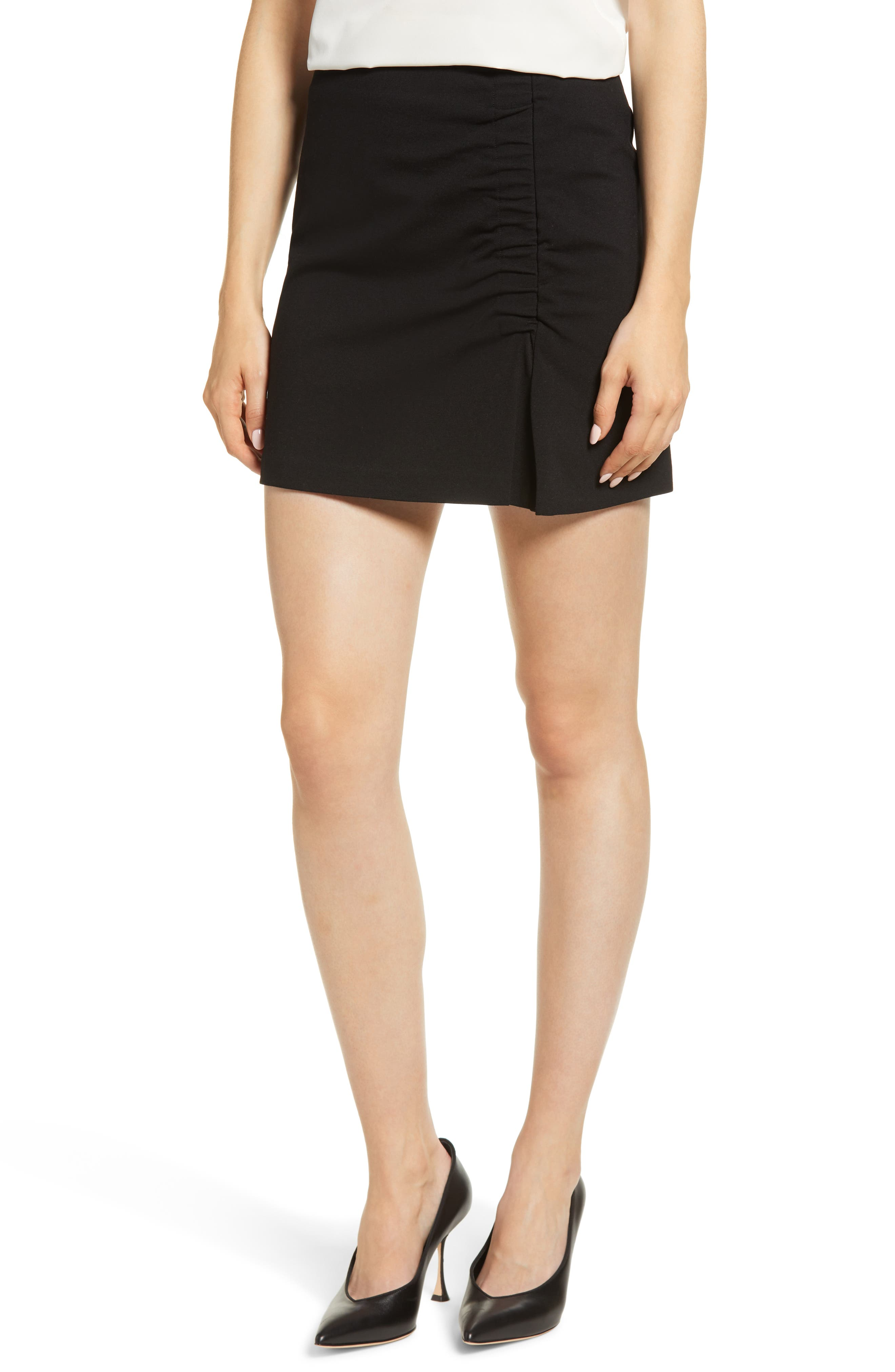 1.STATE Ruched Detail Stretch Ponte Miniskirt, Main, color, RICH BLACK